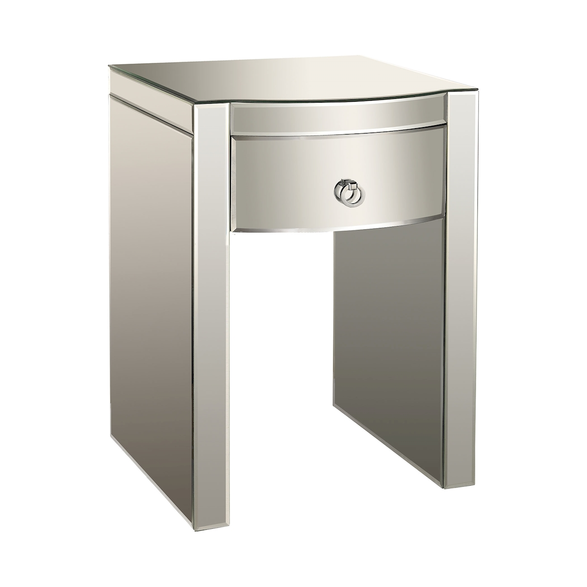 Claire Bow-Front Mirrored Nightstand   Elk Home