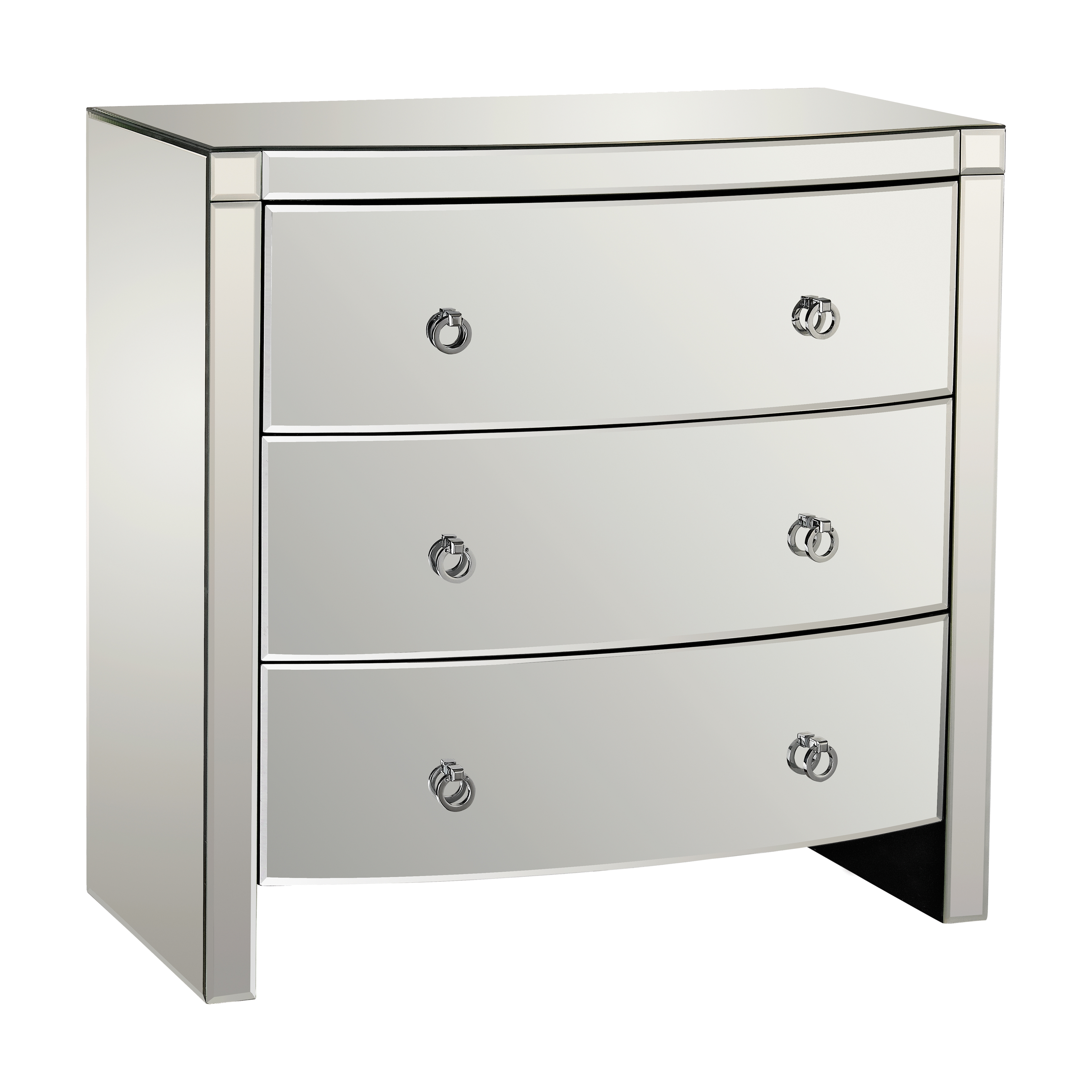 Claire 3-Drawer Bow-Front Mirrored Chest | Elk Home