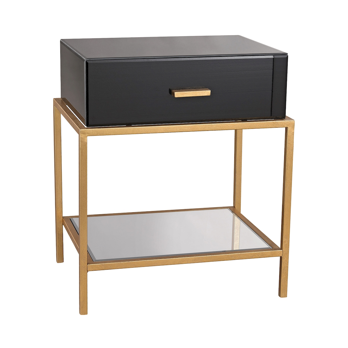 Evans Side Table in Black and Gold Leaf | Elk Home