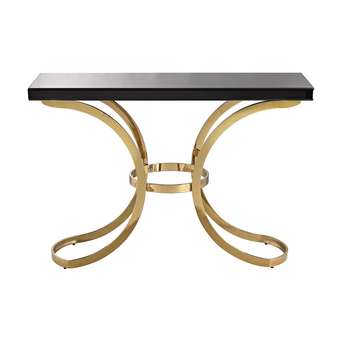 Beacon Towers Console Table in Gold Plate and Black Glass | Elk Home