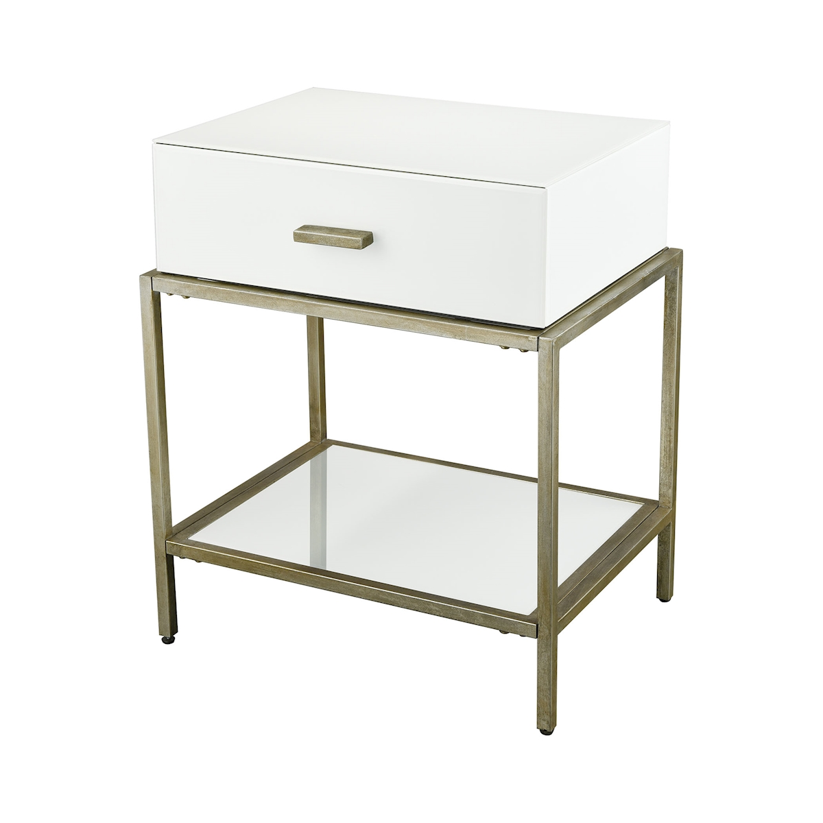 Evans Side Table in White and Gold Leaf | Elk Home