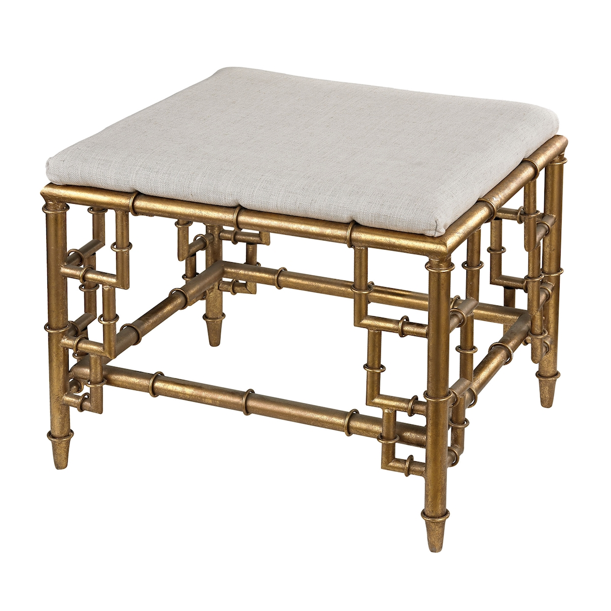 Stool with Bamboo Frame in Gold Leaf and Linen Seat | Elk Home