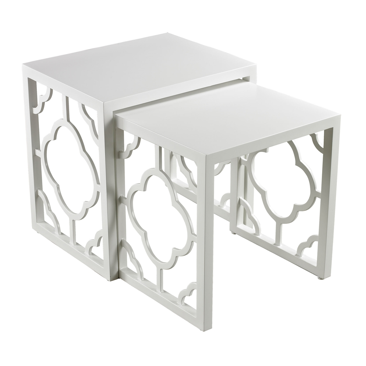 Marrakech Nesting Tables in Gloss White Set of 2 | Elk Home