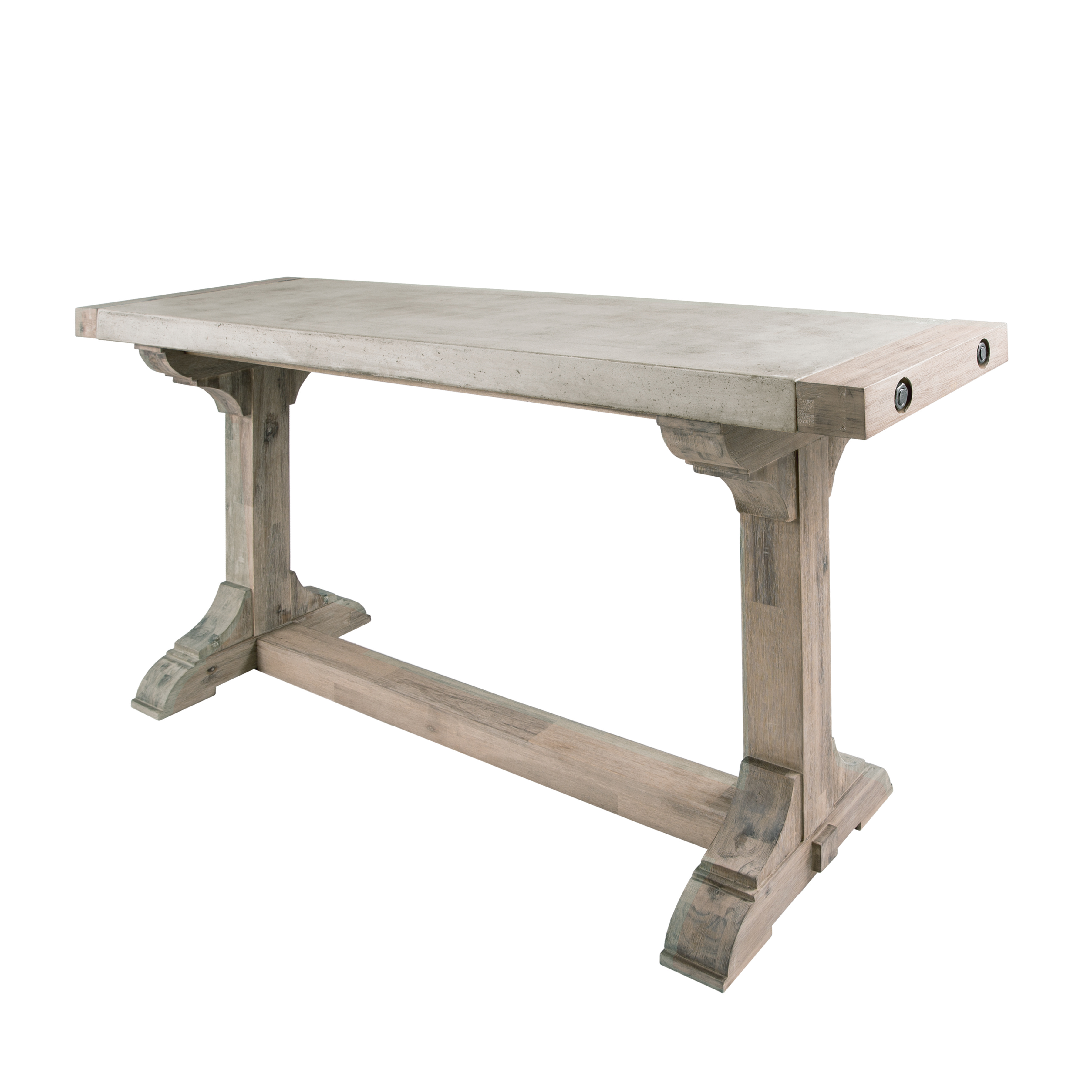 Pirate Console Table in Concrete and Wood with Waxed Atlantic Finish | Elk Home