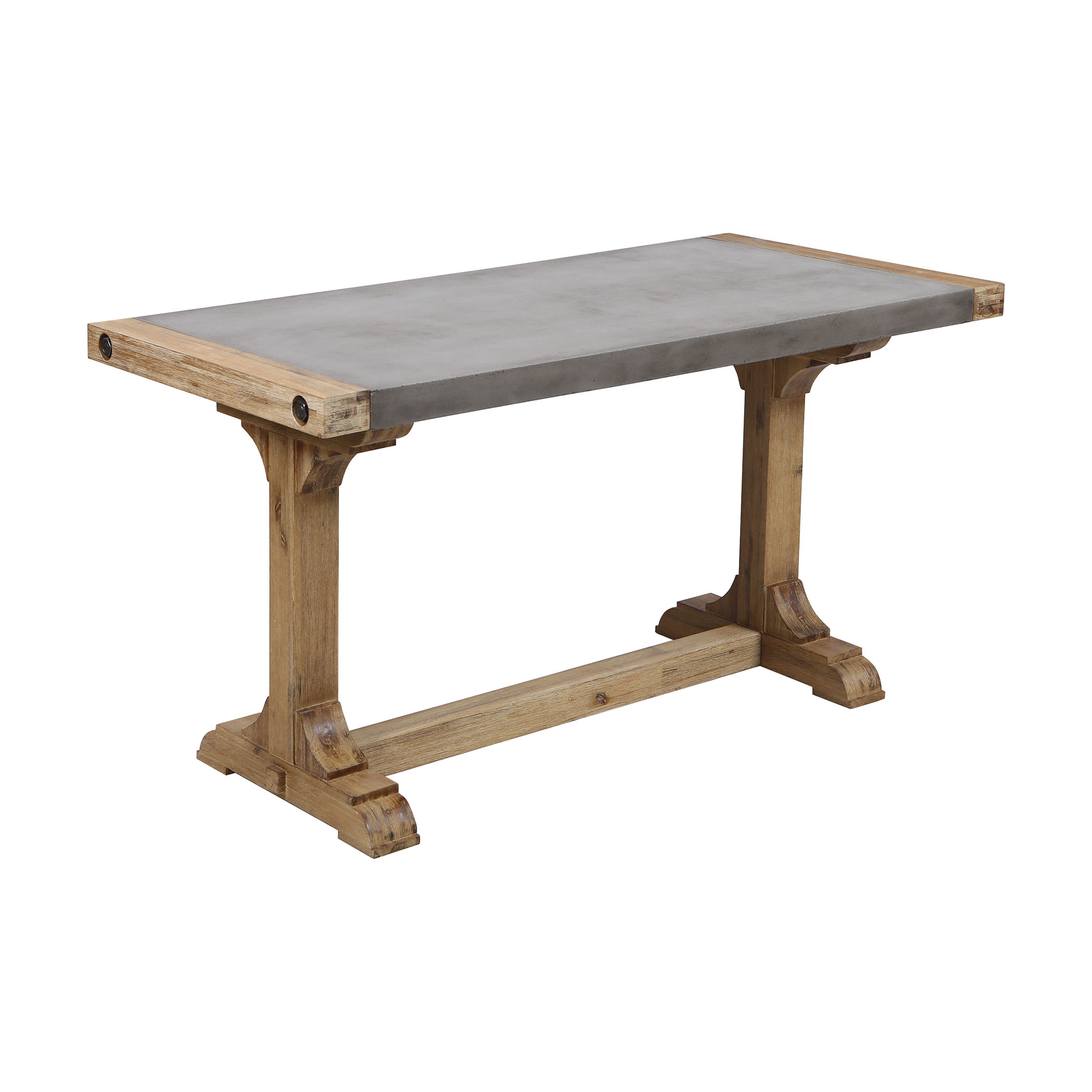 Pirate Console Desk in Concrete and Wood with Waxed Atlantic Finish | Elk Home