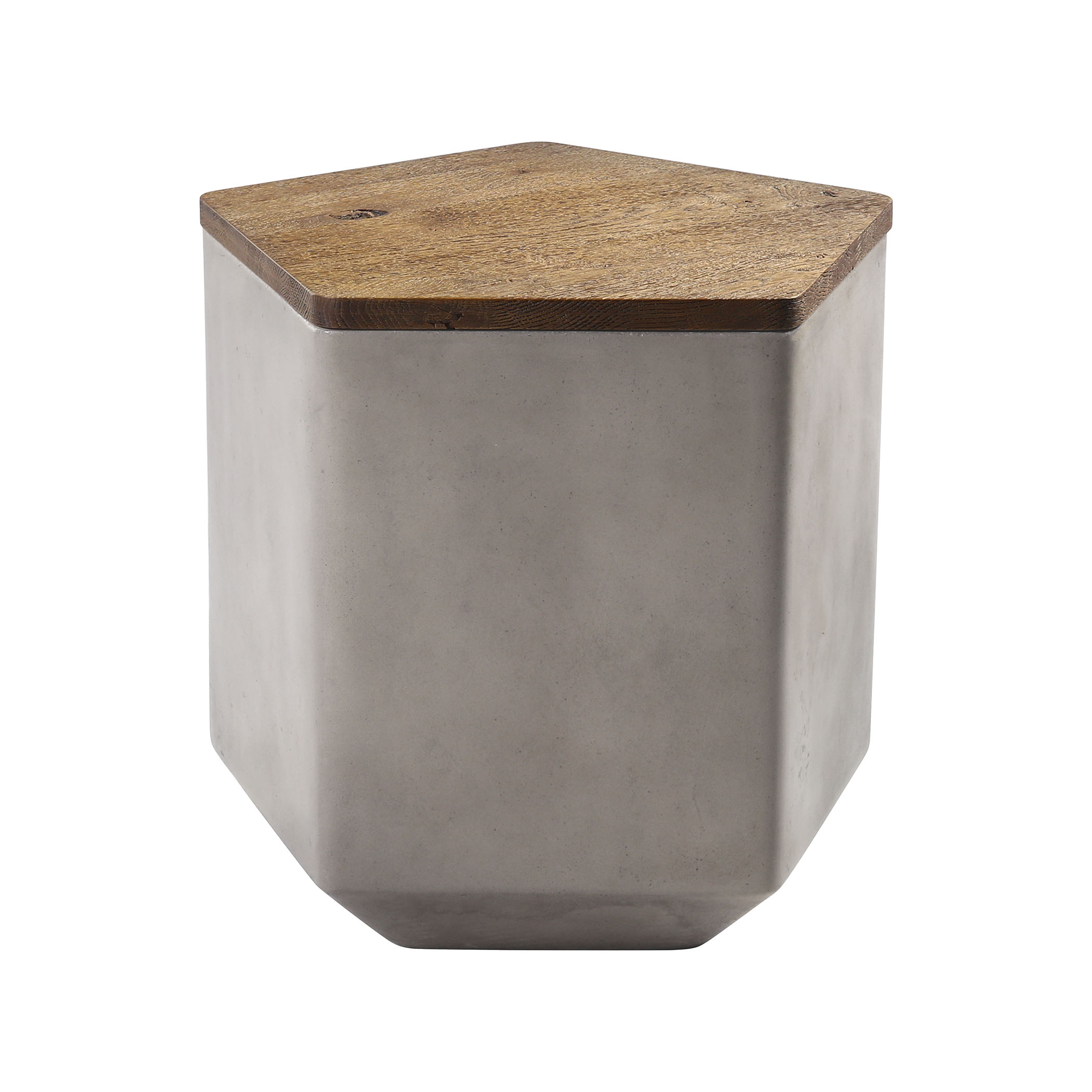 Tay Storage Bench in Nut Oak and Polished Concrete with Acrylic | Elk Home