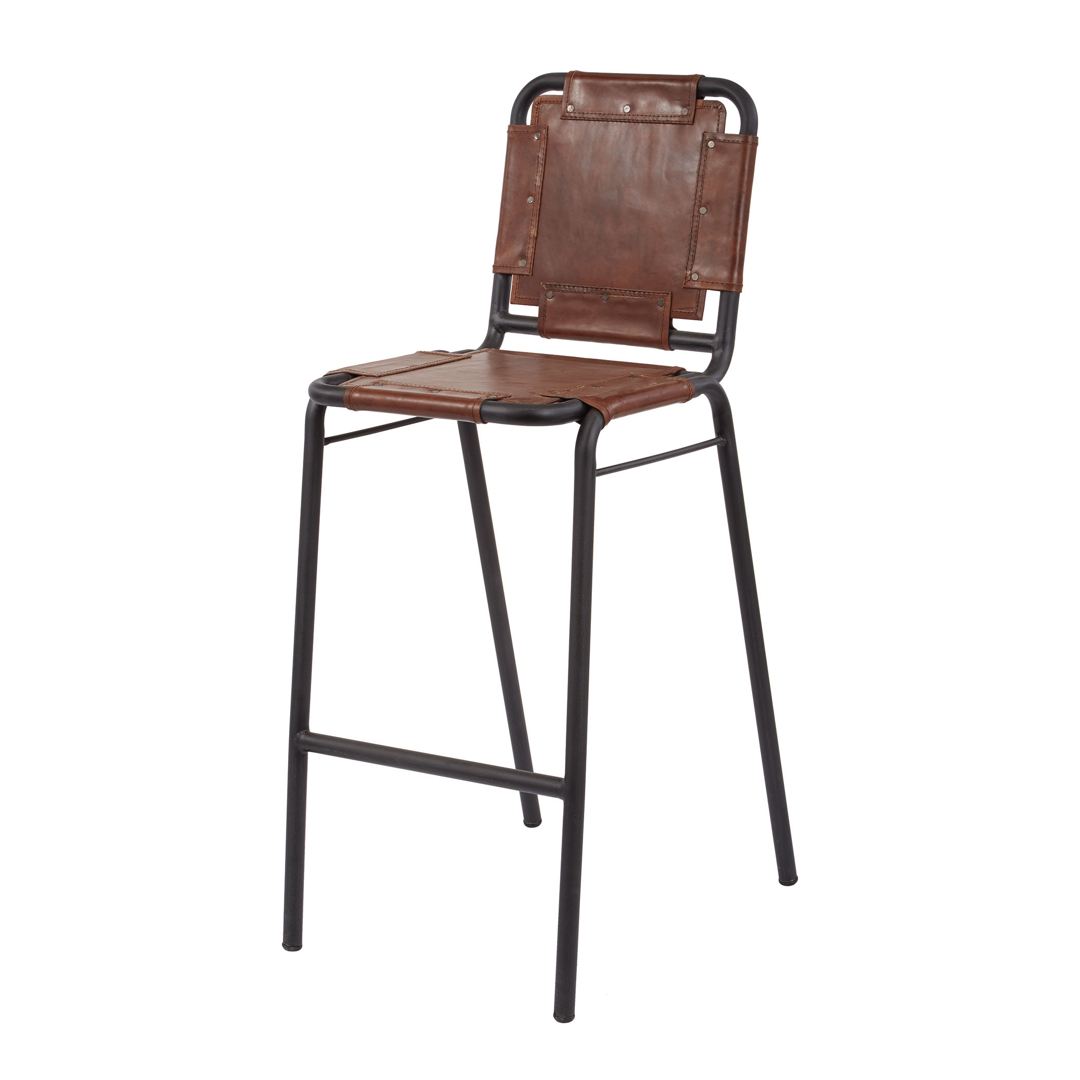 Industrial Leather + Metal Bar Stool | Elk Home