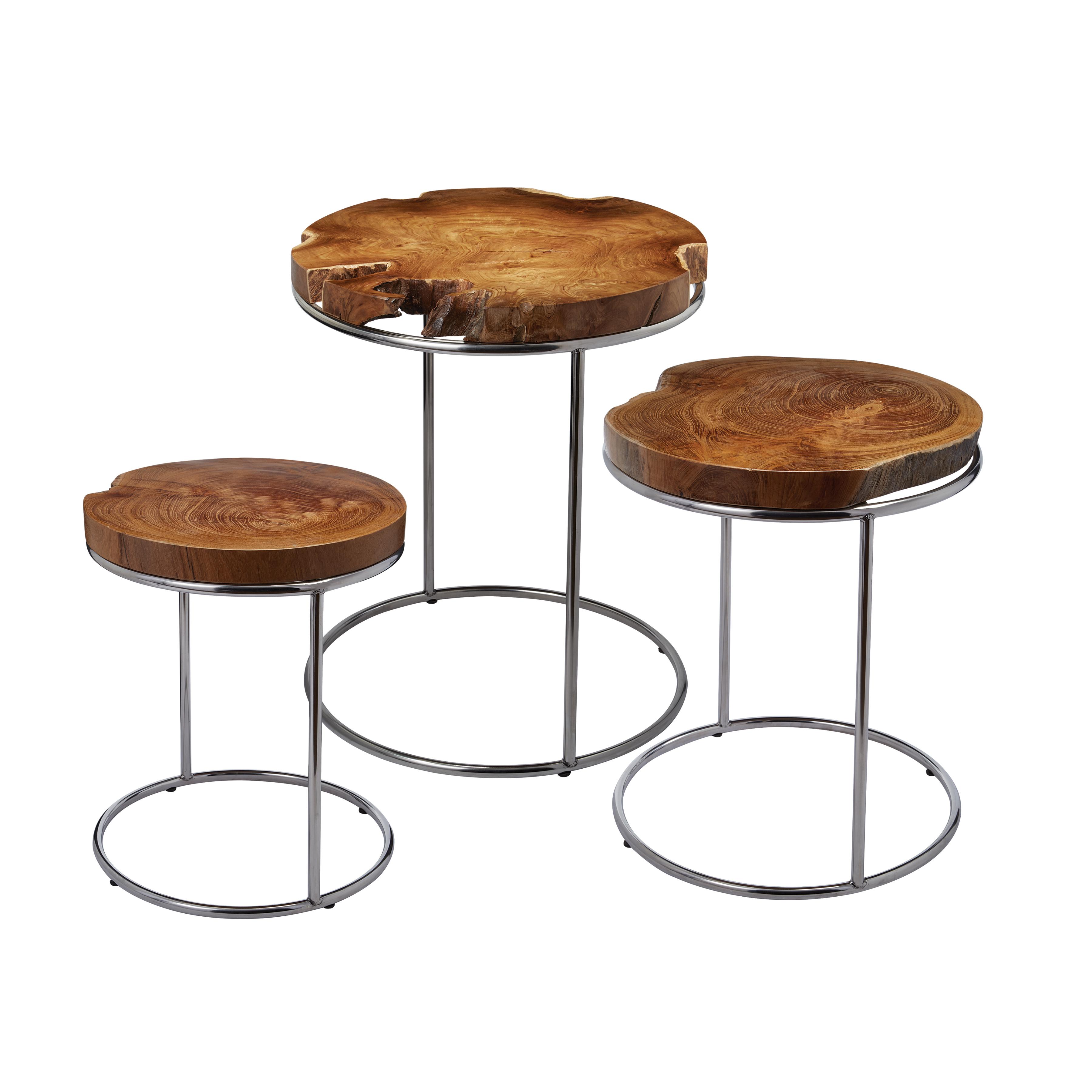Natural Teak Slab Stacking Tables Set of 3 | Elk Home