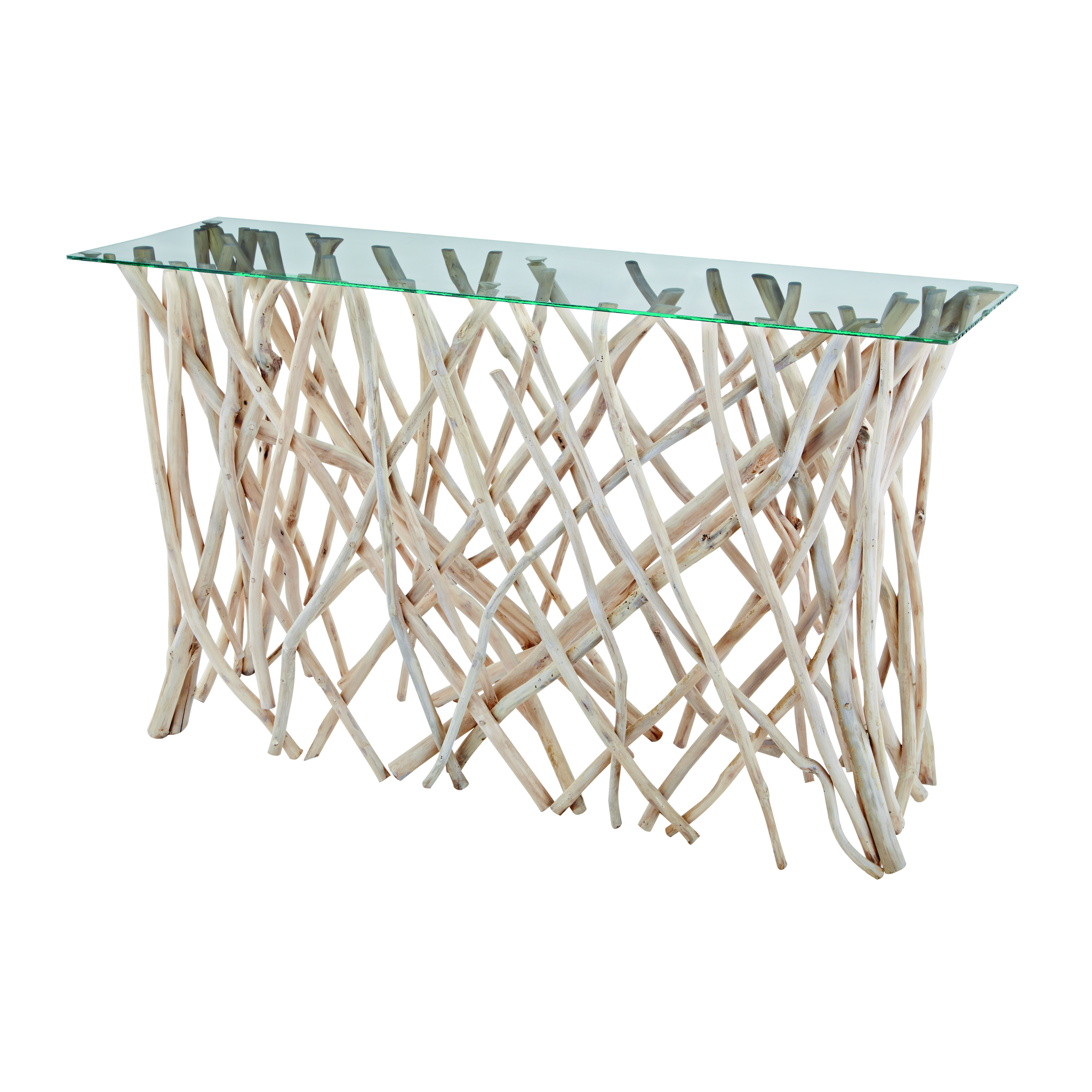 Teak Root Console Table with Glass Top in Natural | Elk Home