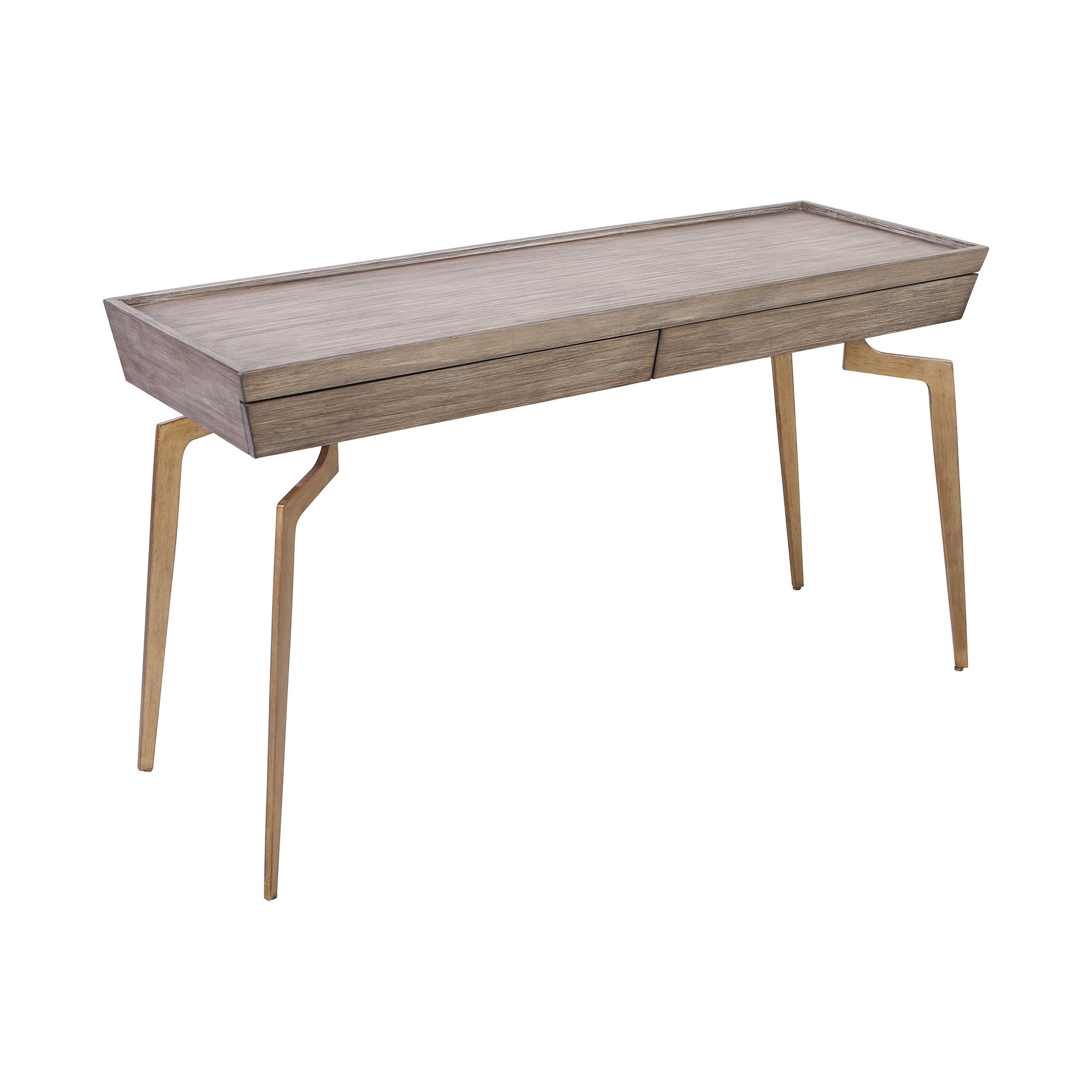 Larocca Console Table in Soft Gold and Grey Birch Veneer | Elk Home