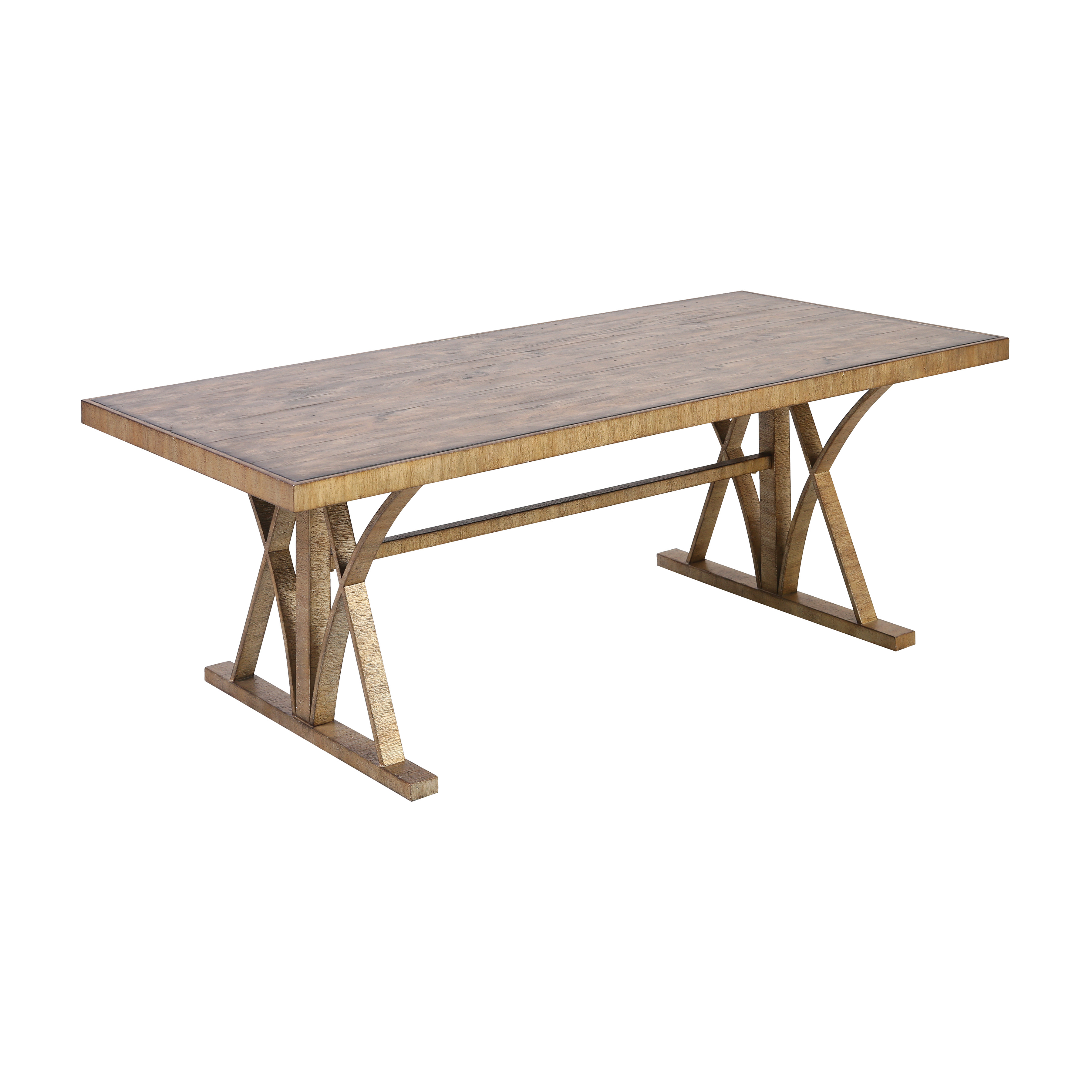Better Ending Coffee Table in Bright Aged Gold and Brown Stained Solid Pine   Elk Home