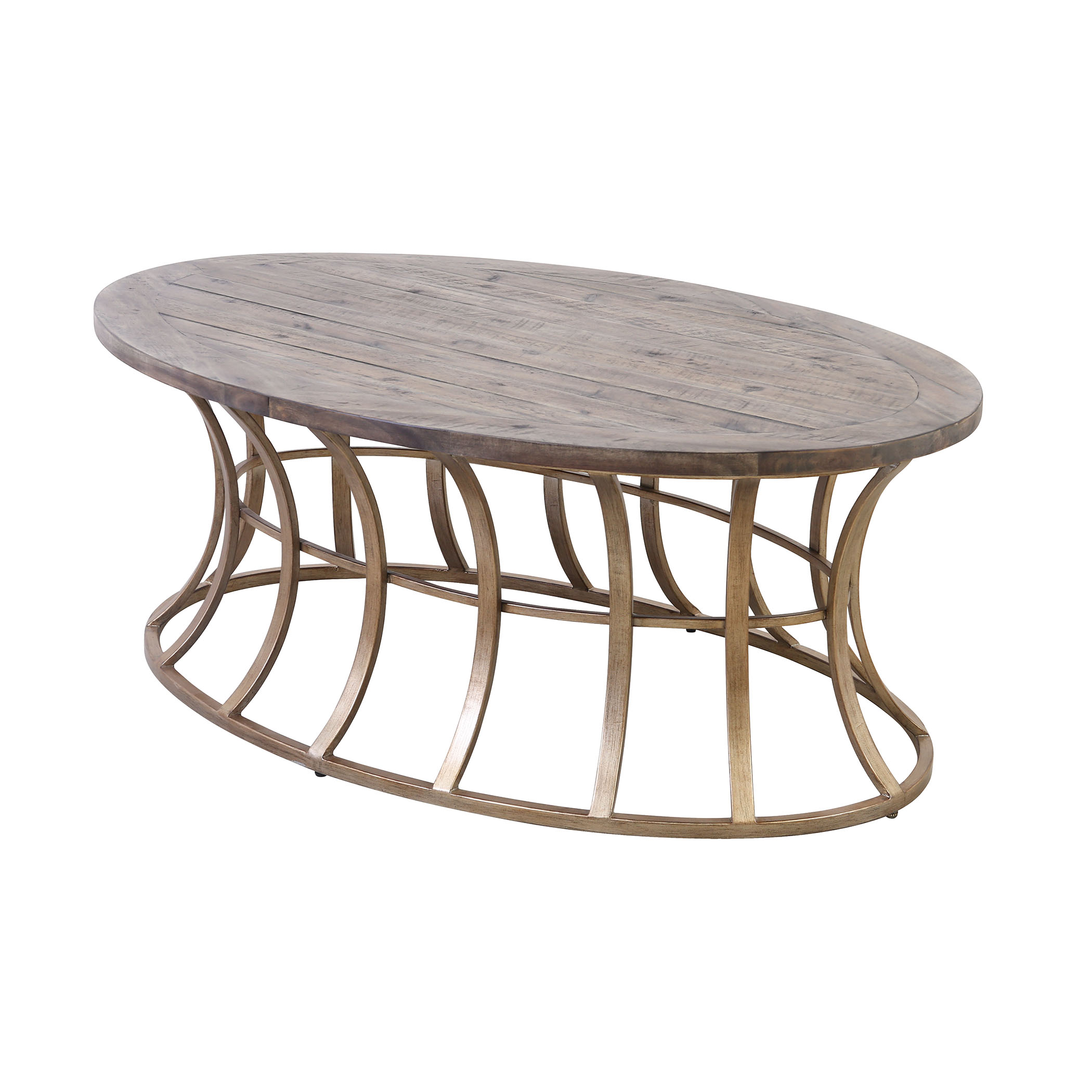 Meditation Coffee Table in Soft Gold and Solid Grey Pine | Elk Home