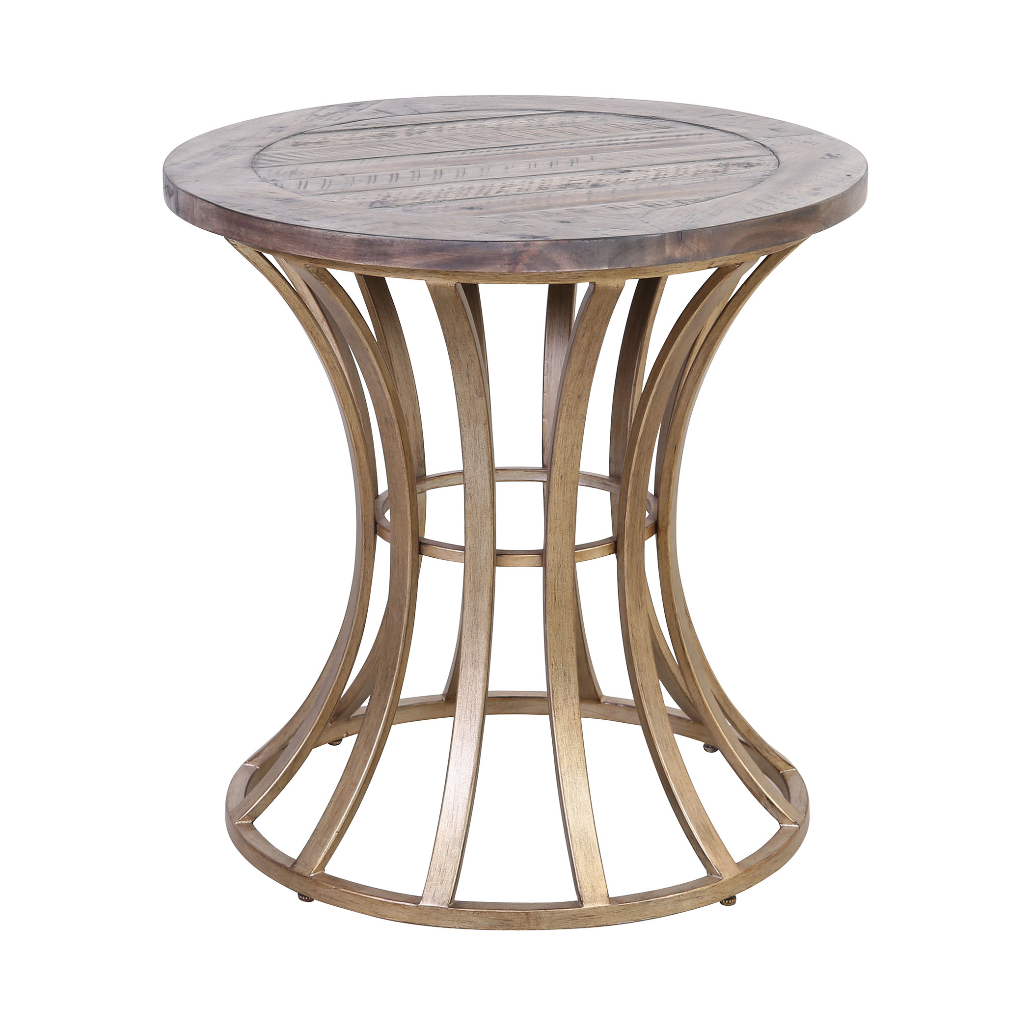 Meditation Accent Table in Soft Gold and Solid Grey Pine | Elk Home