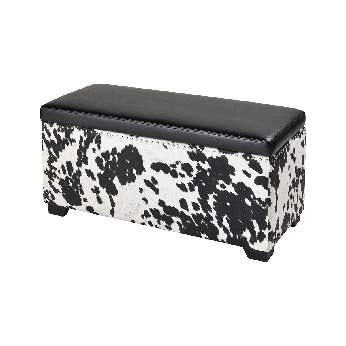 Nell Black And White Faux Hide And Black Pu Ottoman | Stein World