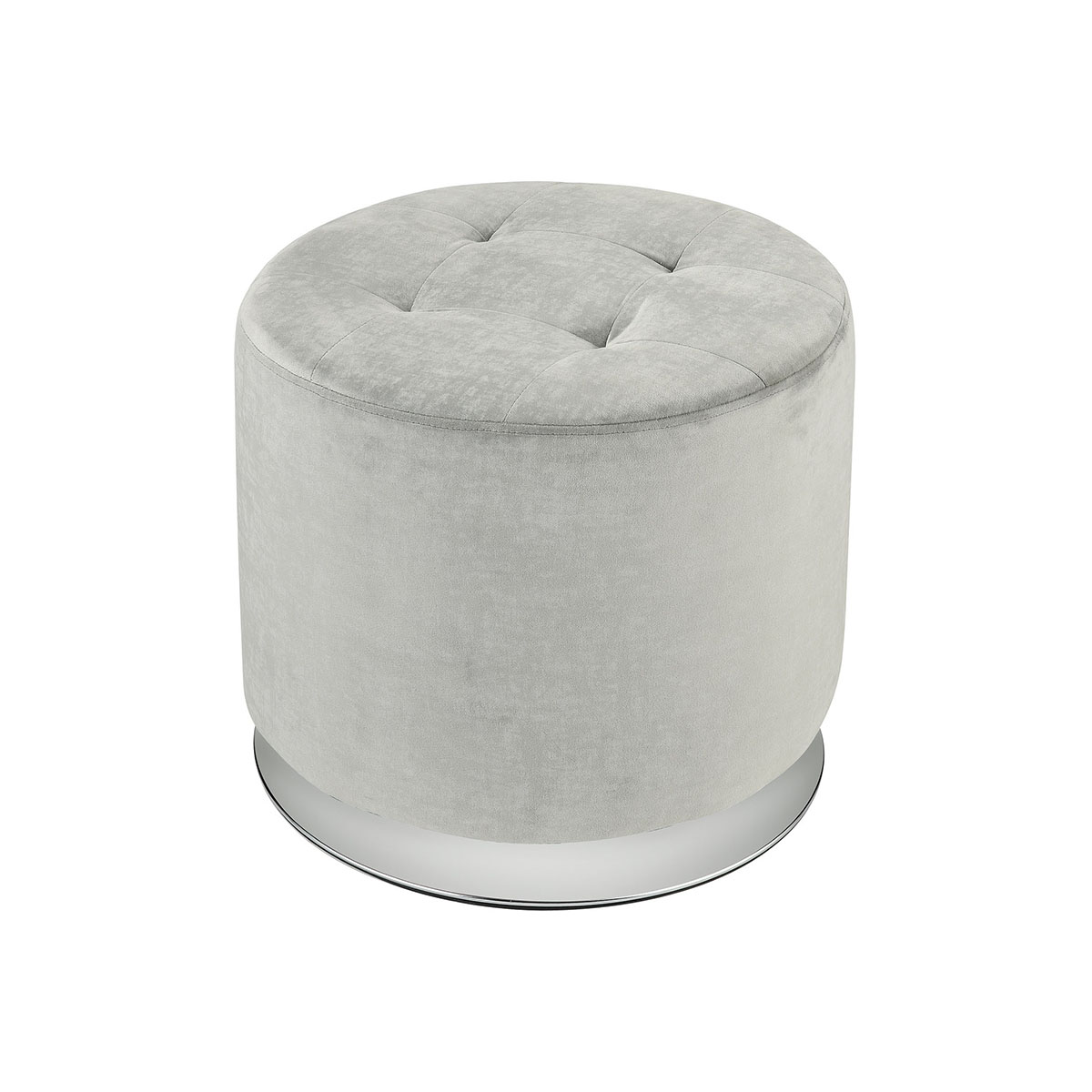 Lilliebeth Light Grey Velvet With Chrome Base Ottoman | Stein World