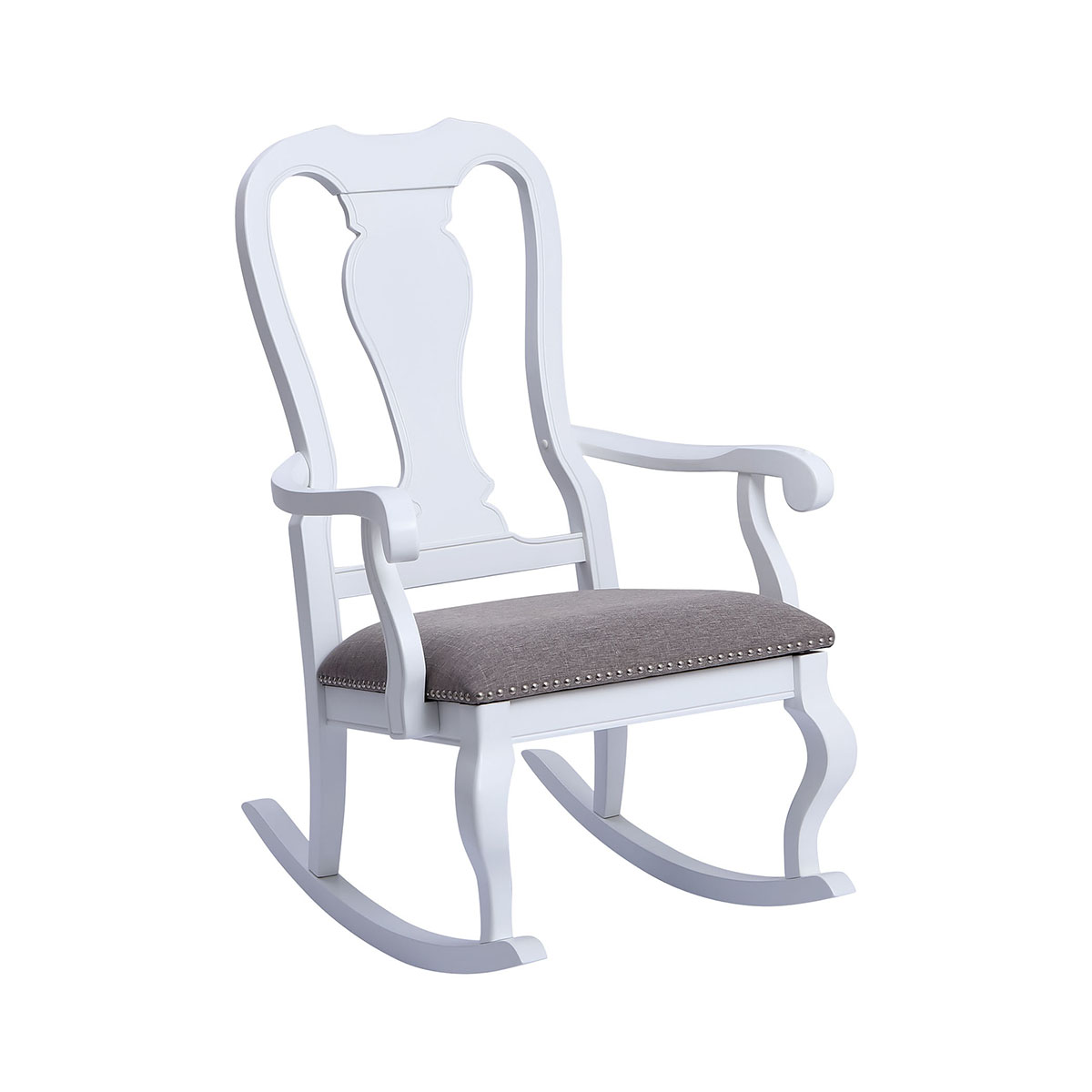 Tress White With Grey Linen Rocking Chair | Stein World