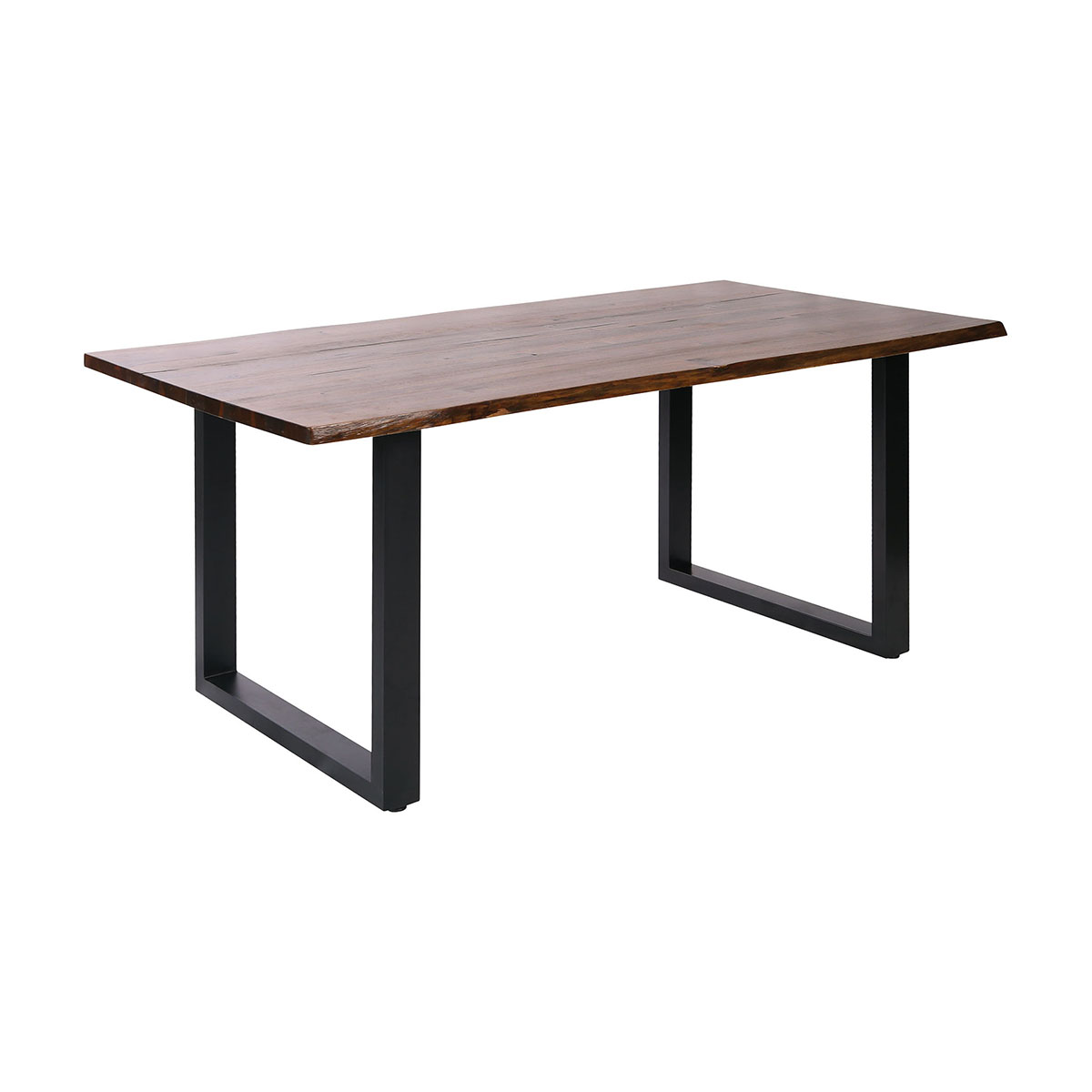 Fleming Dining Table with Living Edge Acacia Wood Top and Black Metal Legs | Stein World