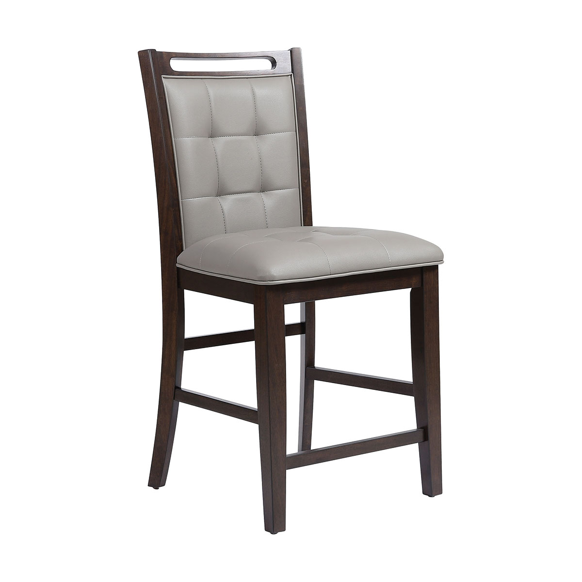 Lyman Grey Faux Leather Fabric. Rubber Wood in Arabica Finish Counter Stool | Stein World