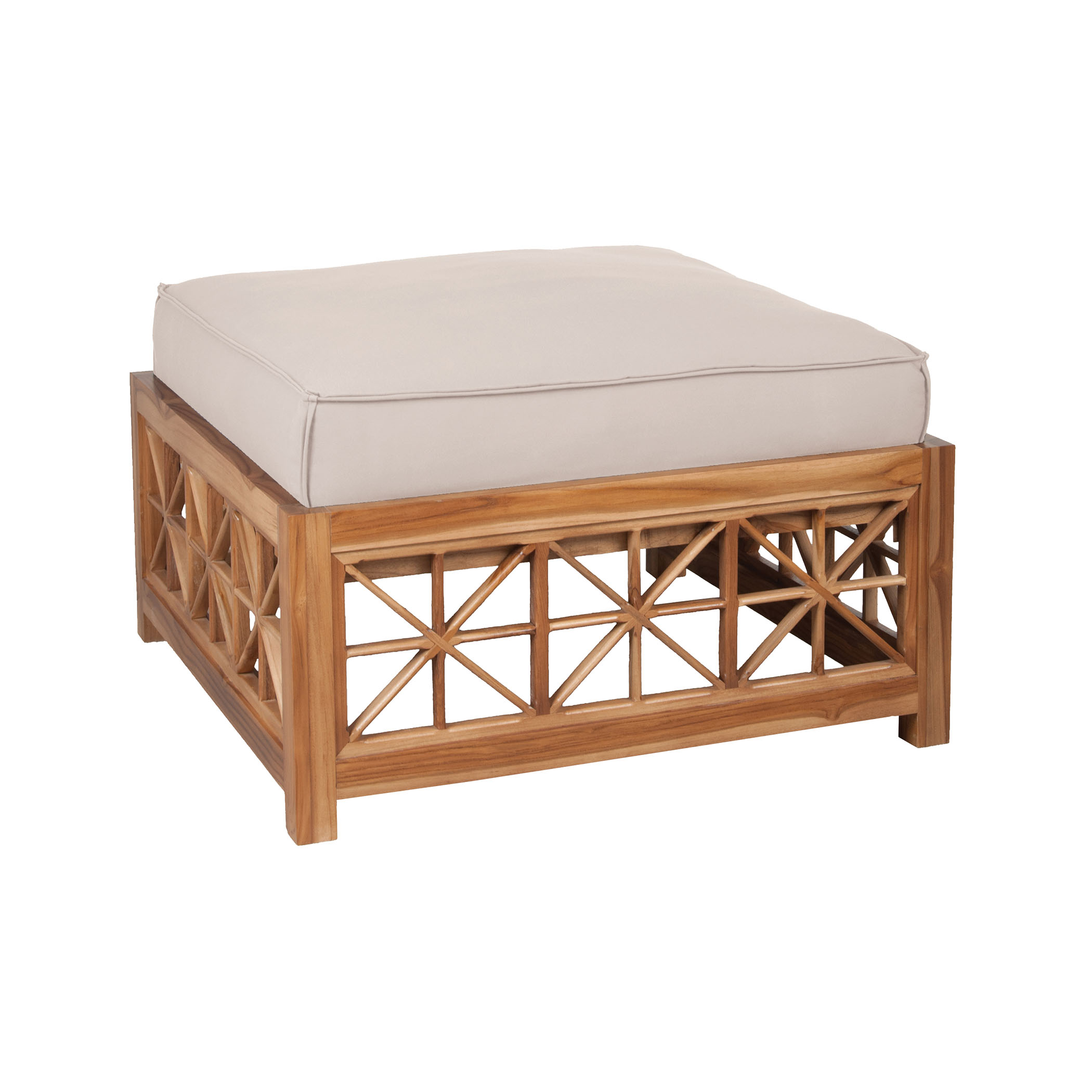 Teak Lattice Square Ottoman Cushion in Cream | Elk Home