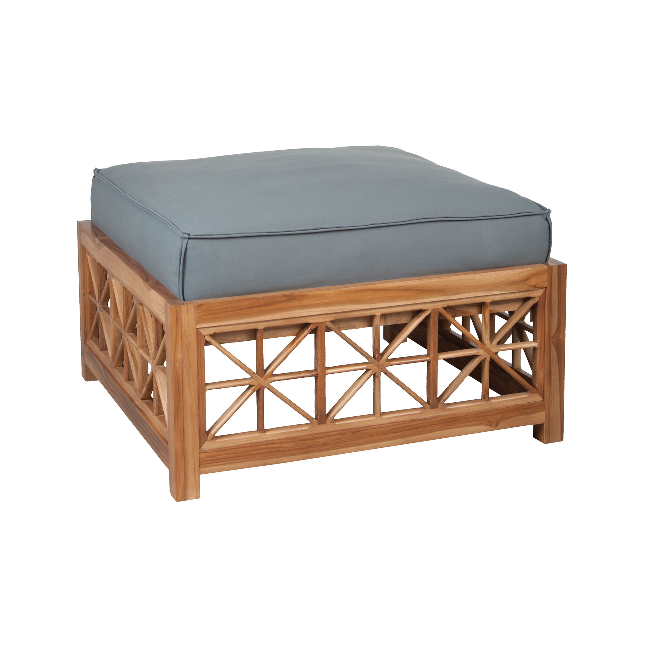 Teak Lattice Square Ottoman Cushion in Grey | Elk Home