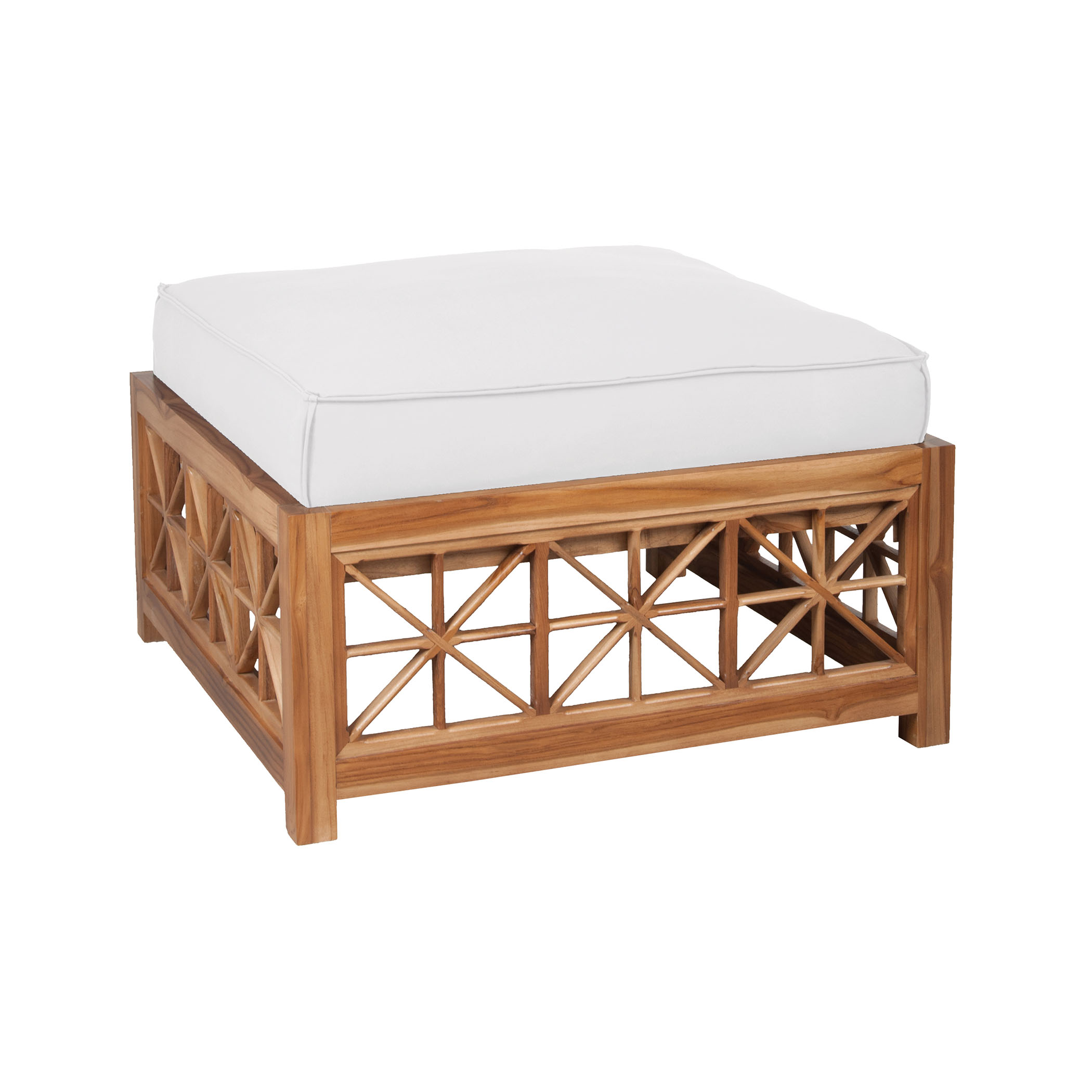 Teak Lattice Square Ottoman Cushion in White | Elk Home