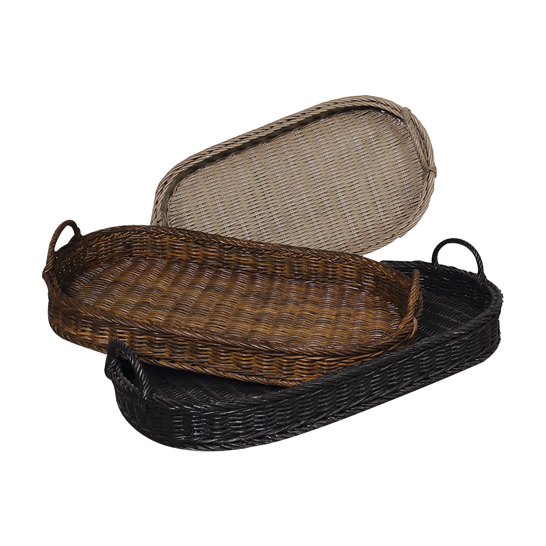 Oval Rattan Signature Black, Woodlands Dark Stain, and Italian Slate 19X33X6 Set of Three Oval Ratta | Elk Home