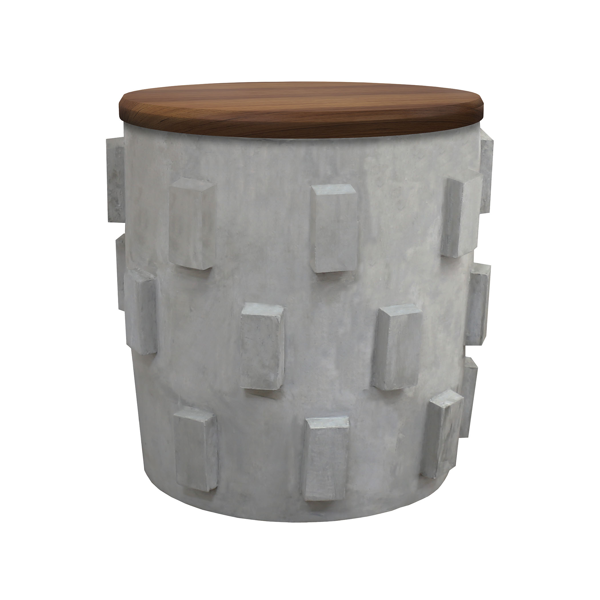 Lifestyle Concrete Stool Or Accent Table with Storage Under Natural Wood Top | Elk Home