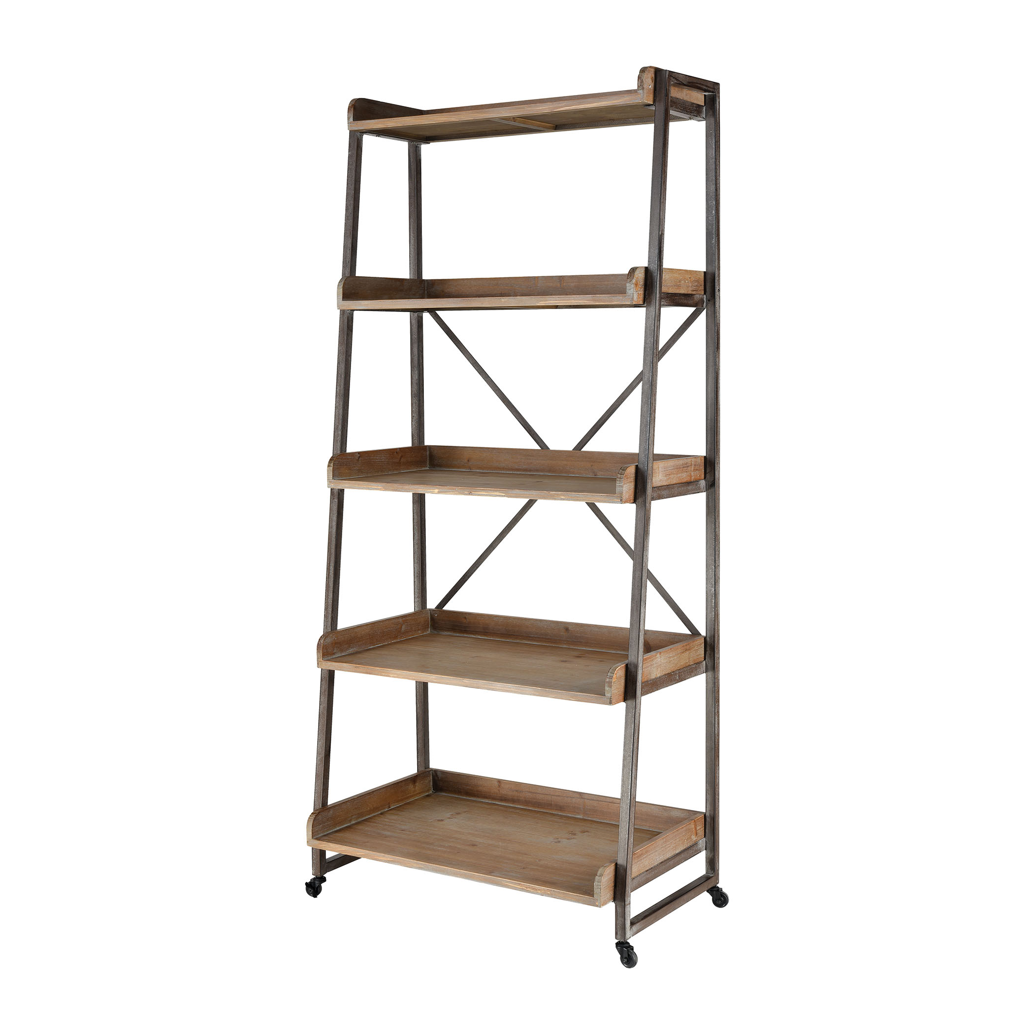 Hildago Bookshelf in Natural Wood and Pewter | Elk Home