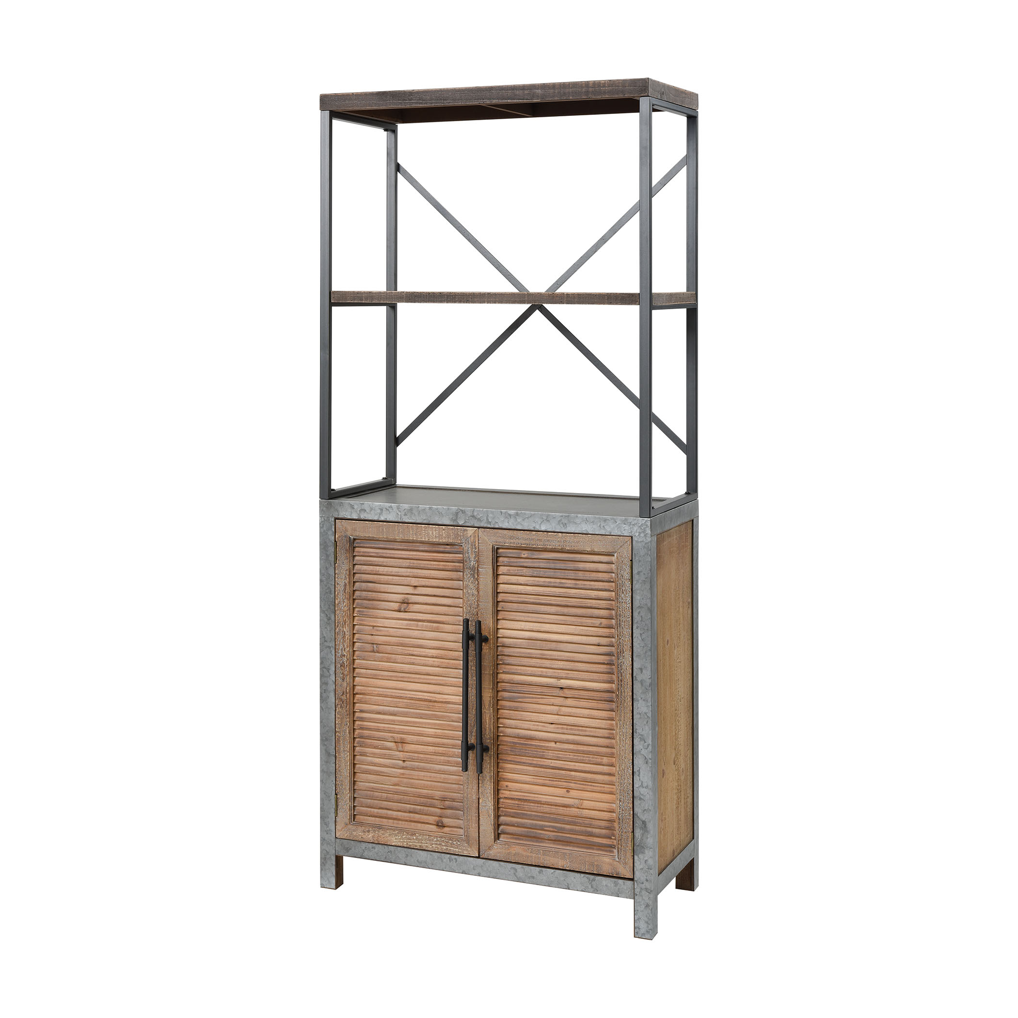 Badlands 2-Door Bookcase in Drifted Oak and Aged Iron | Elk Home