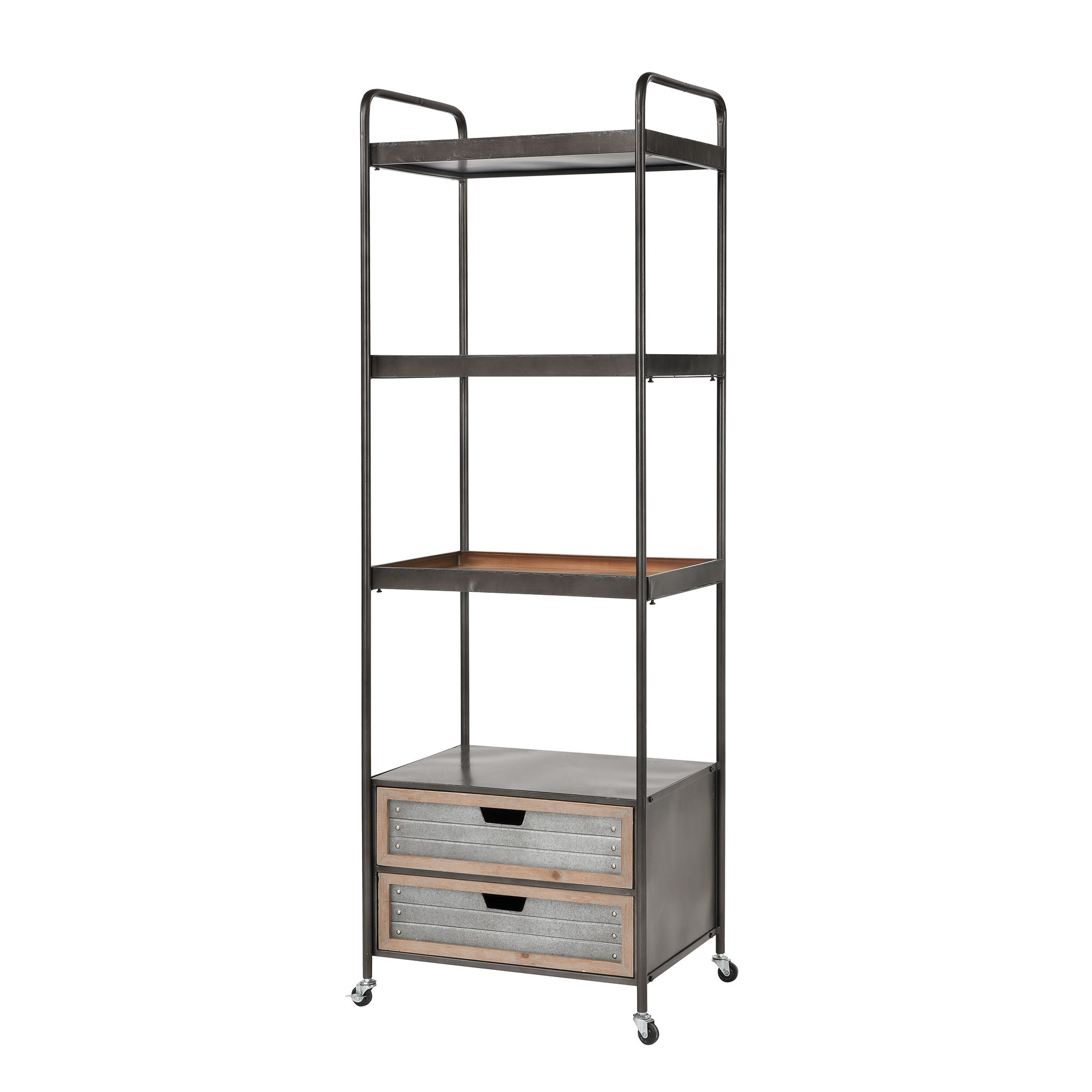 Whitepark Bay Bookshelf in Natural Fir Wood and Galvanized Steel | Elk Home