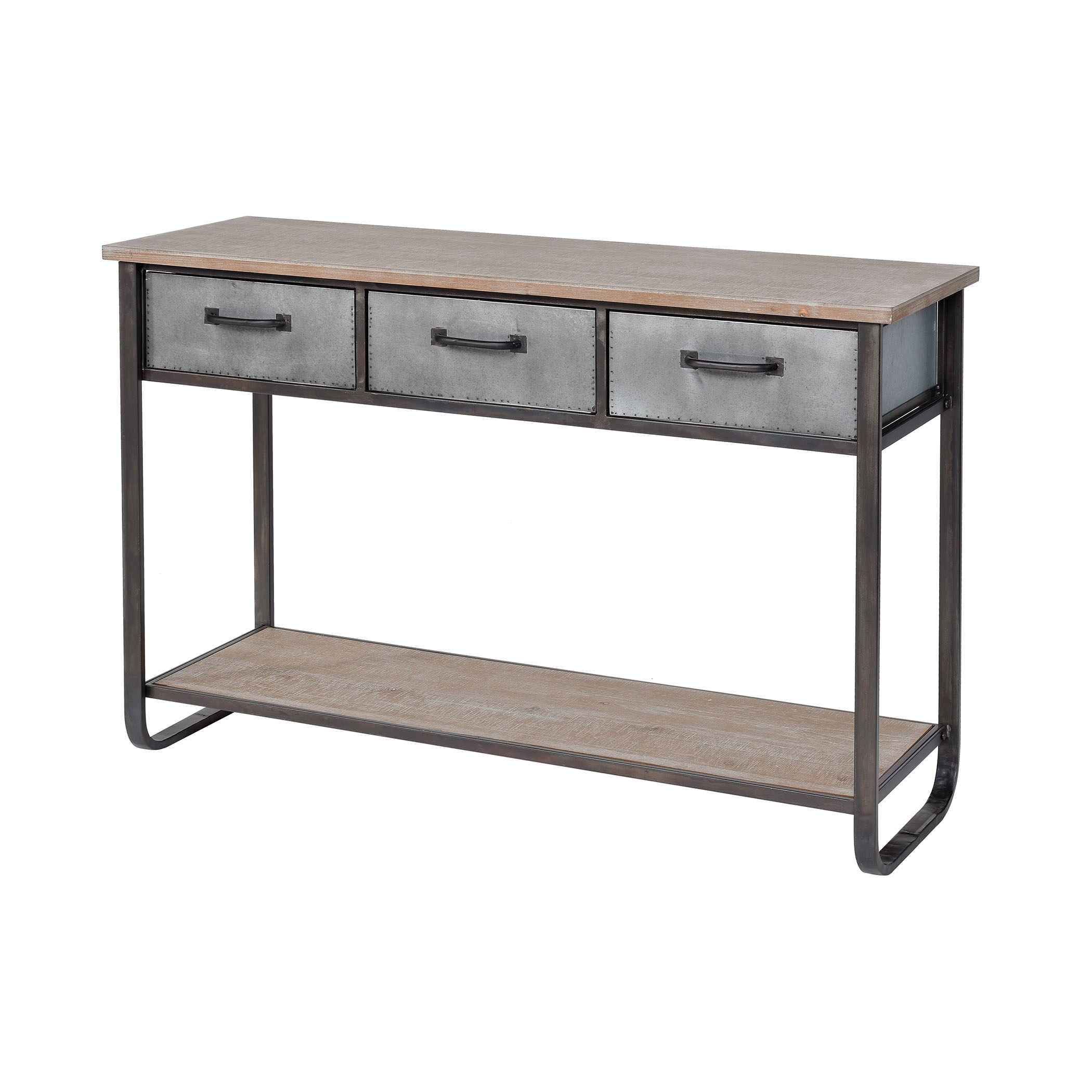 Whitepark Bay Console in Natural Fir Wood and Galvanized Steel Medium | Elk Home