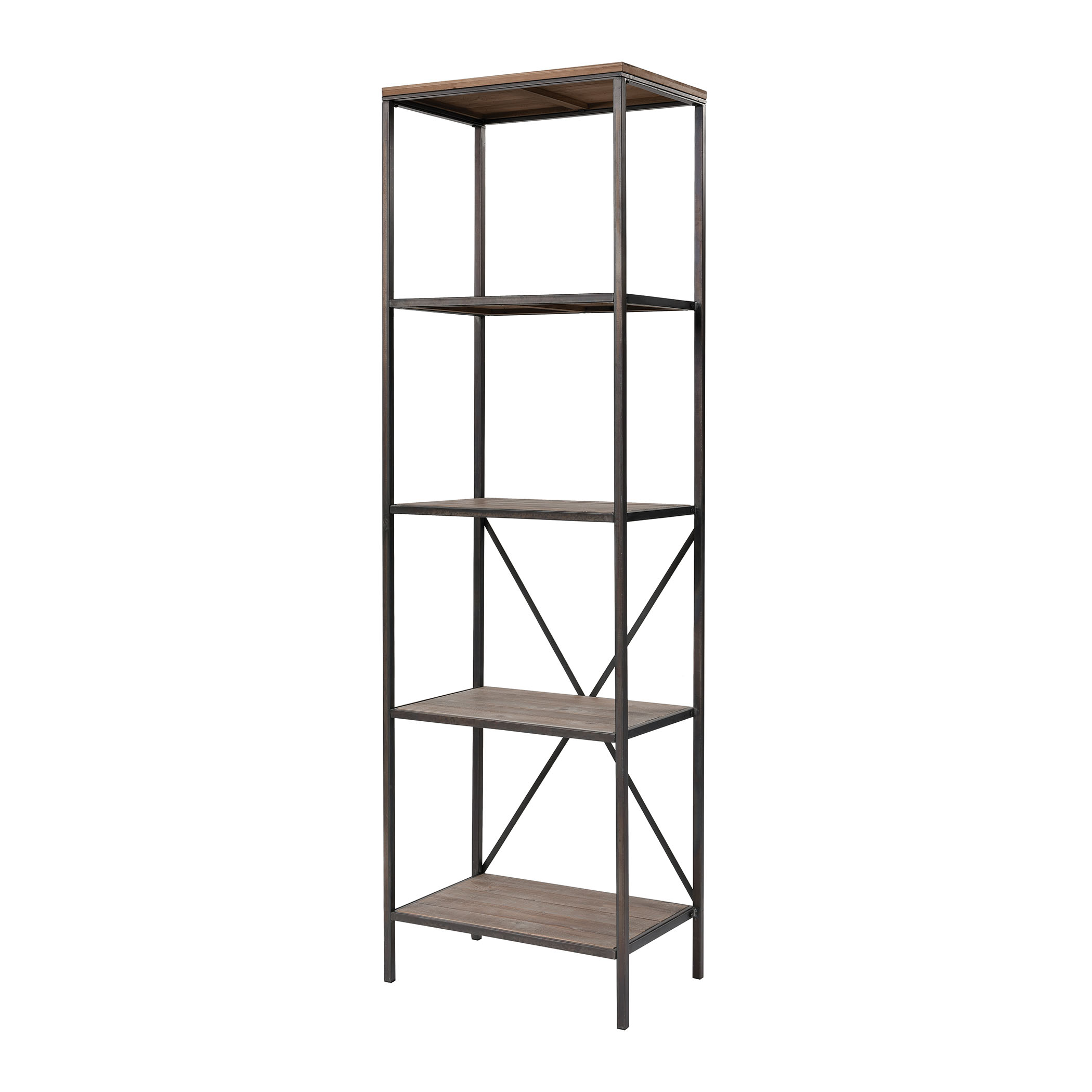 Whitepark Bay Bookshelf in Galvanized Steel and Natural Wood | Elk Home