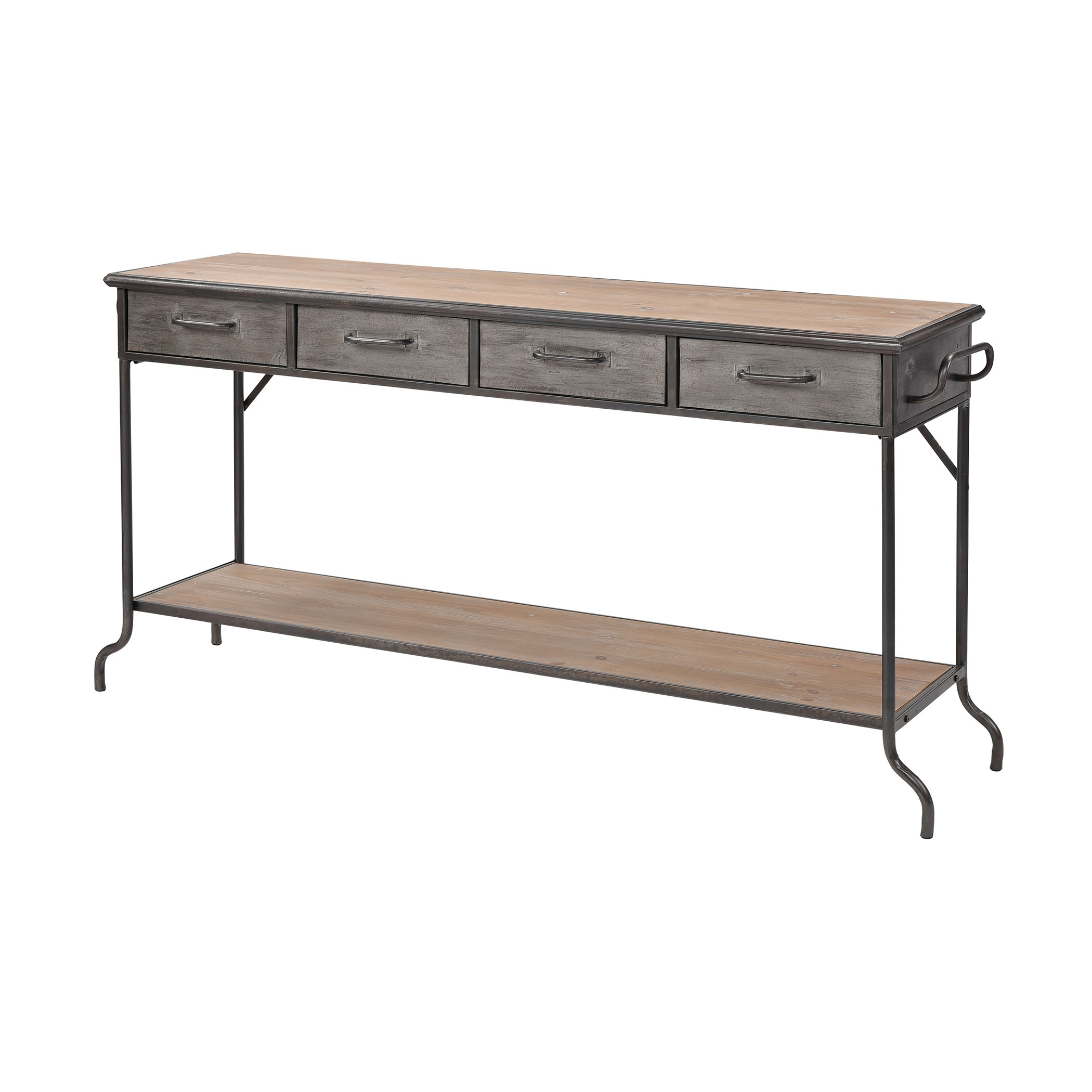 Whitepark Bay Console in Antique Pewter and Natural Wood Large | Elk Home