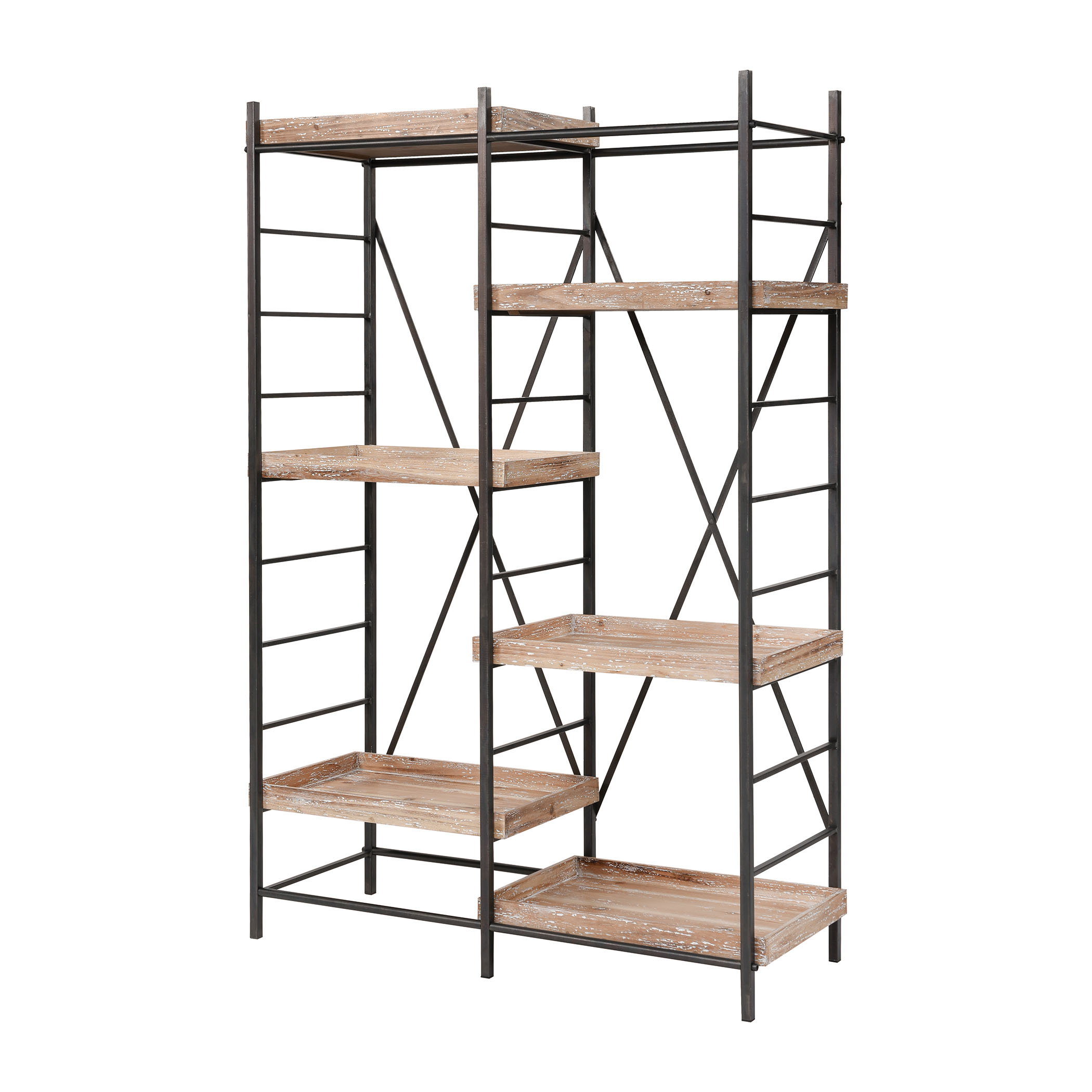 Tonka Staggered Shelving Unit in Natural Wood with White Antique and Bronze | Elk Home