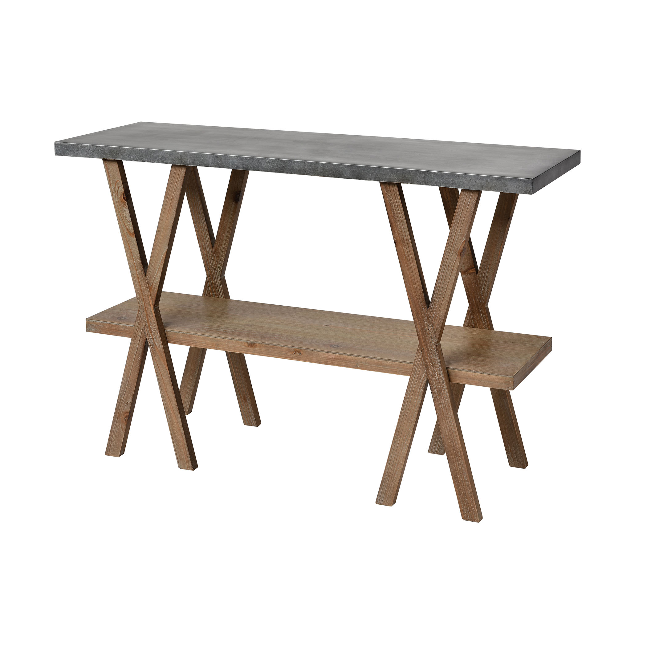 Winterfell Console Table in Natural Wood and Antique Galvanized Steel | Elk Home