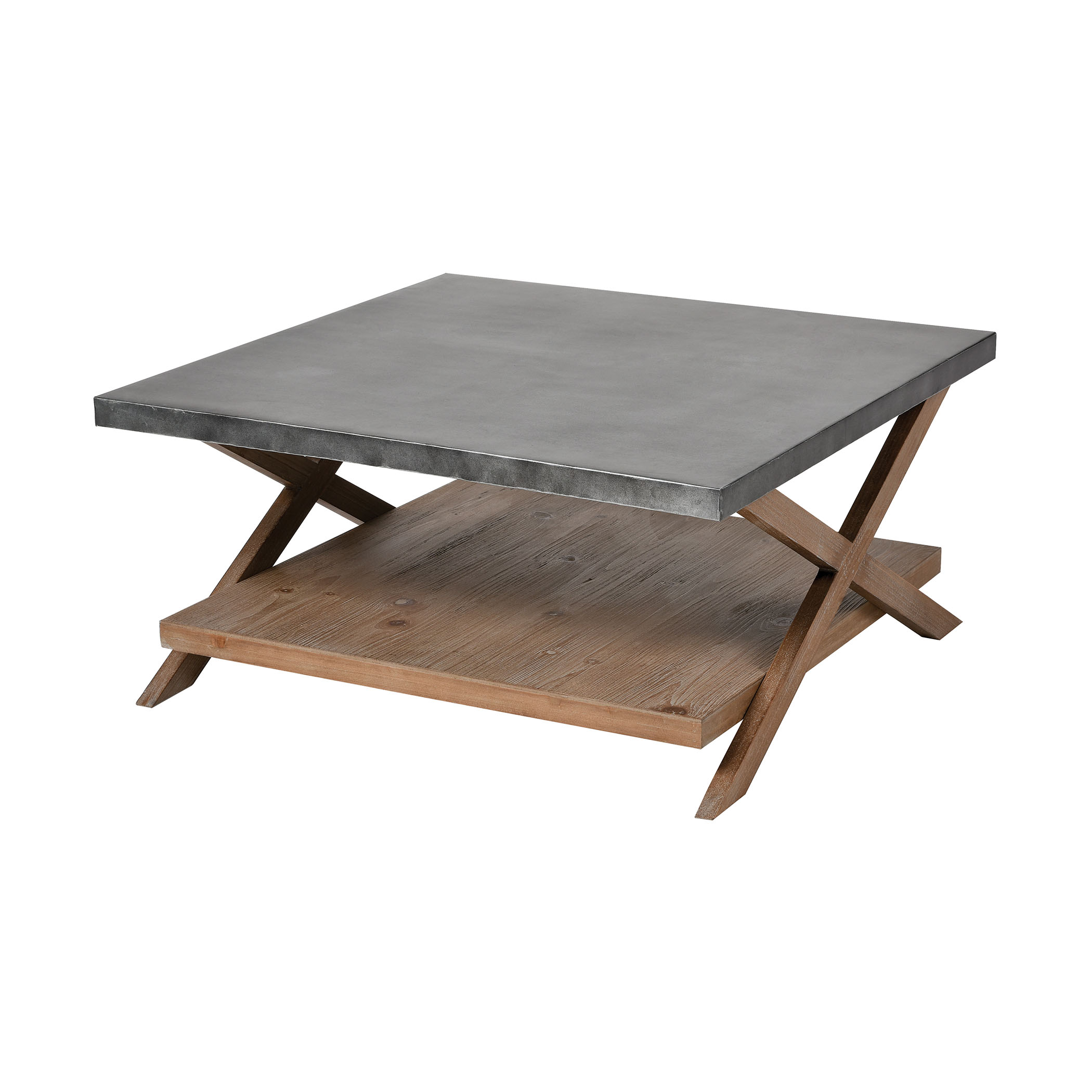 Winterfell Cocktail Table in Natural Wood and Antique Galvanized Steel | Elk Home