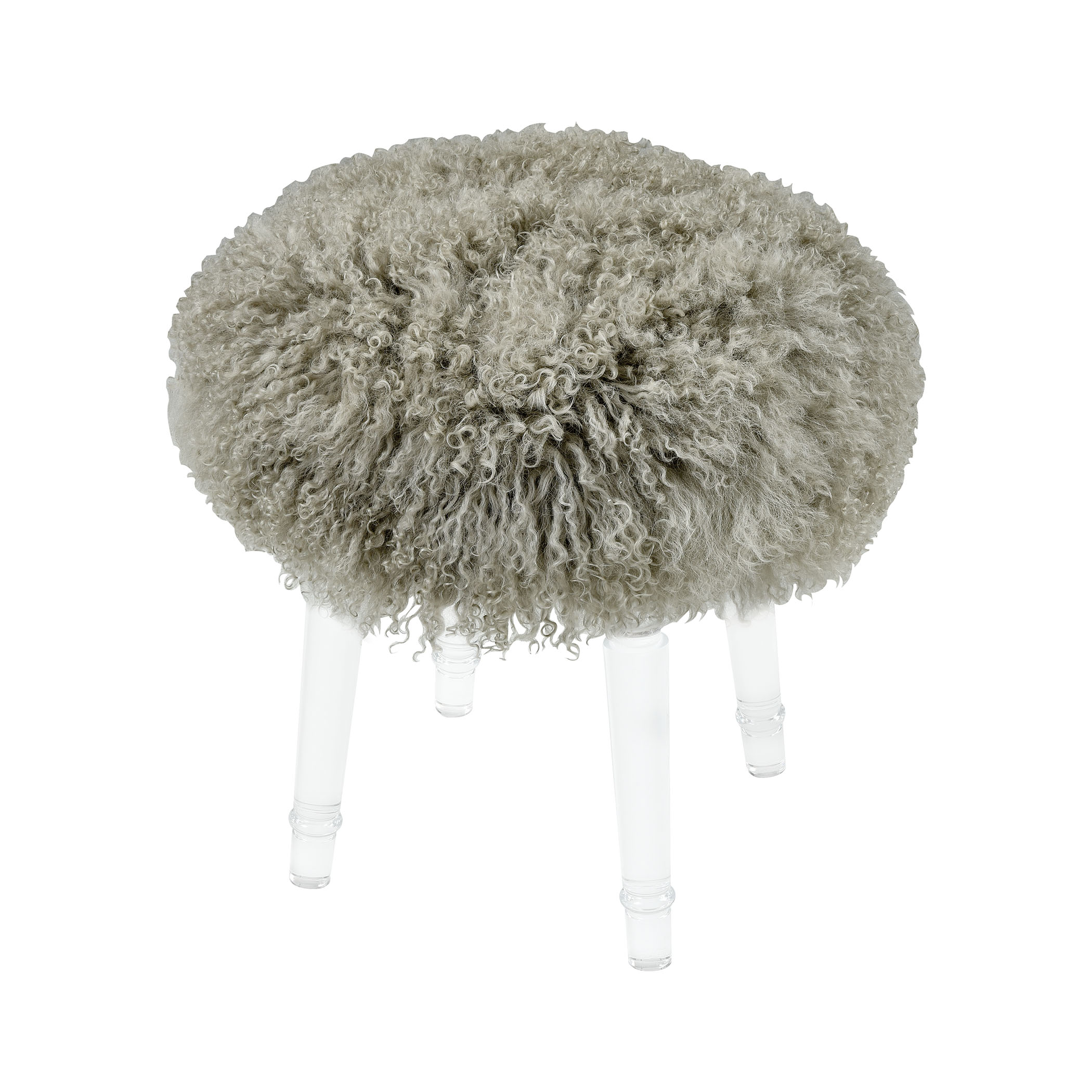 Best in Show Light Grey Genuine Fur Mohair Stool with Clear Acrylic Legs | Elk Home