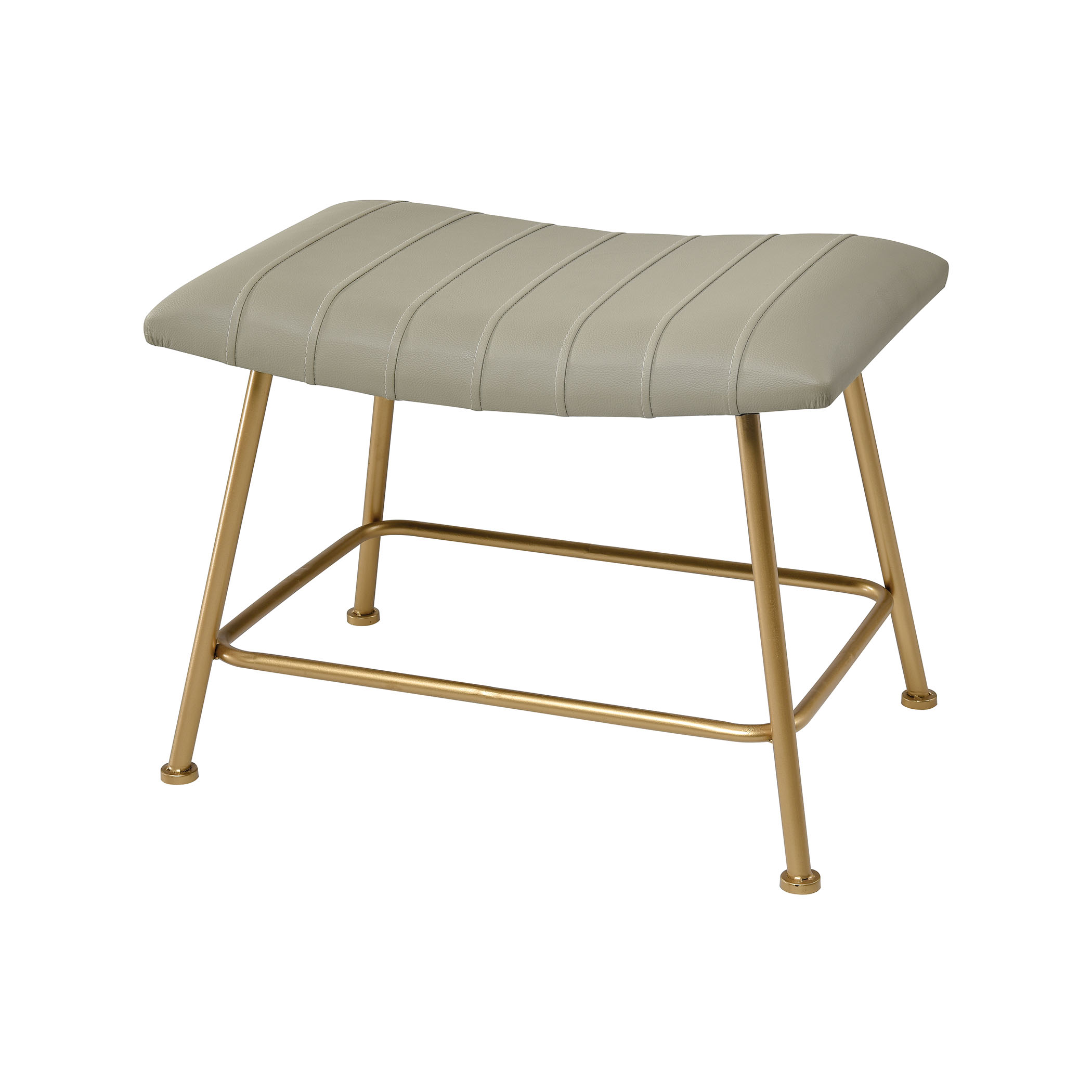 West Side Stool in Grey Faux Leather and Gold | Elk Home