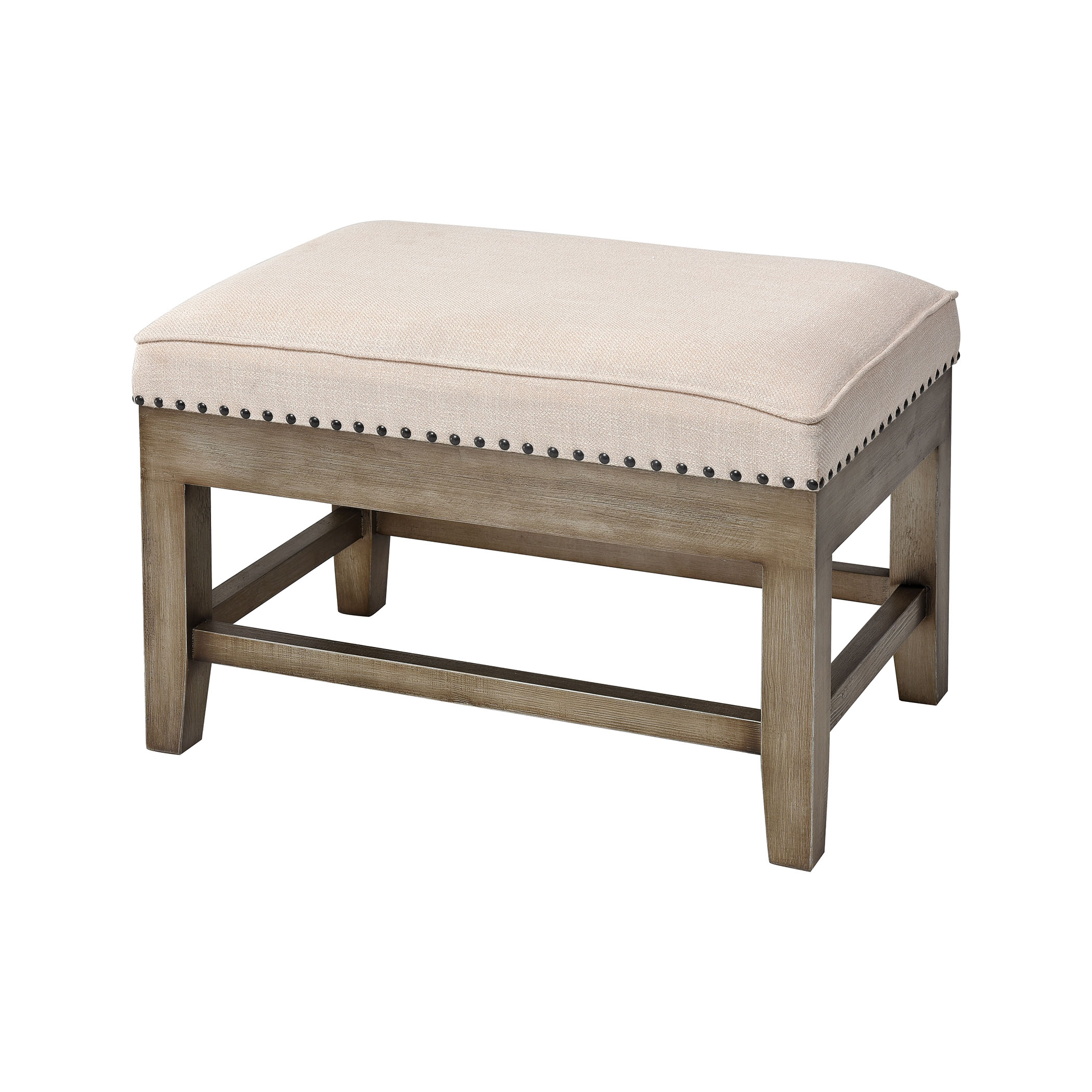 Midnight Cowboy Stool in Cream Linen and Silver with Antique | Elk Home