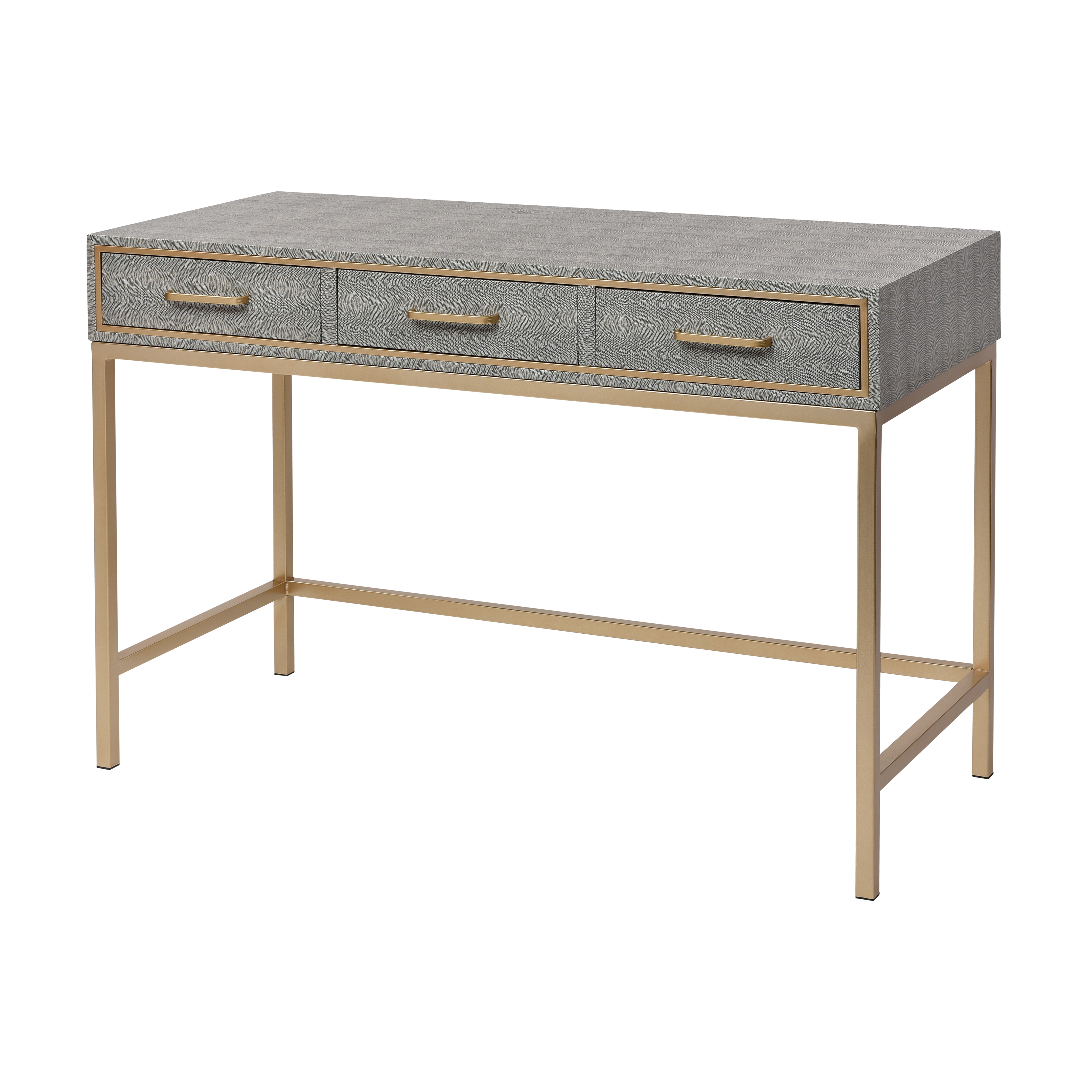 Sands Point 3-Drawer Desk in Grey and Gold | Elk Home