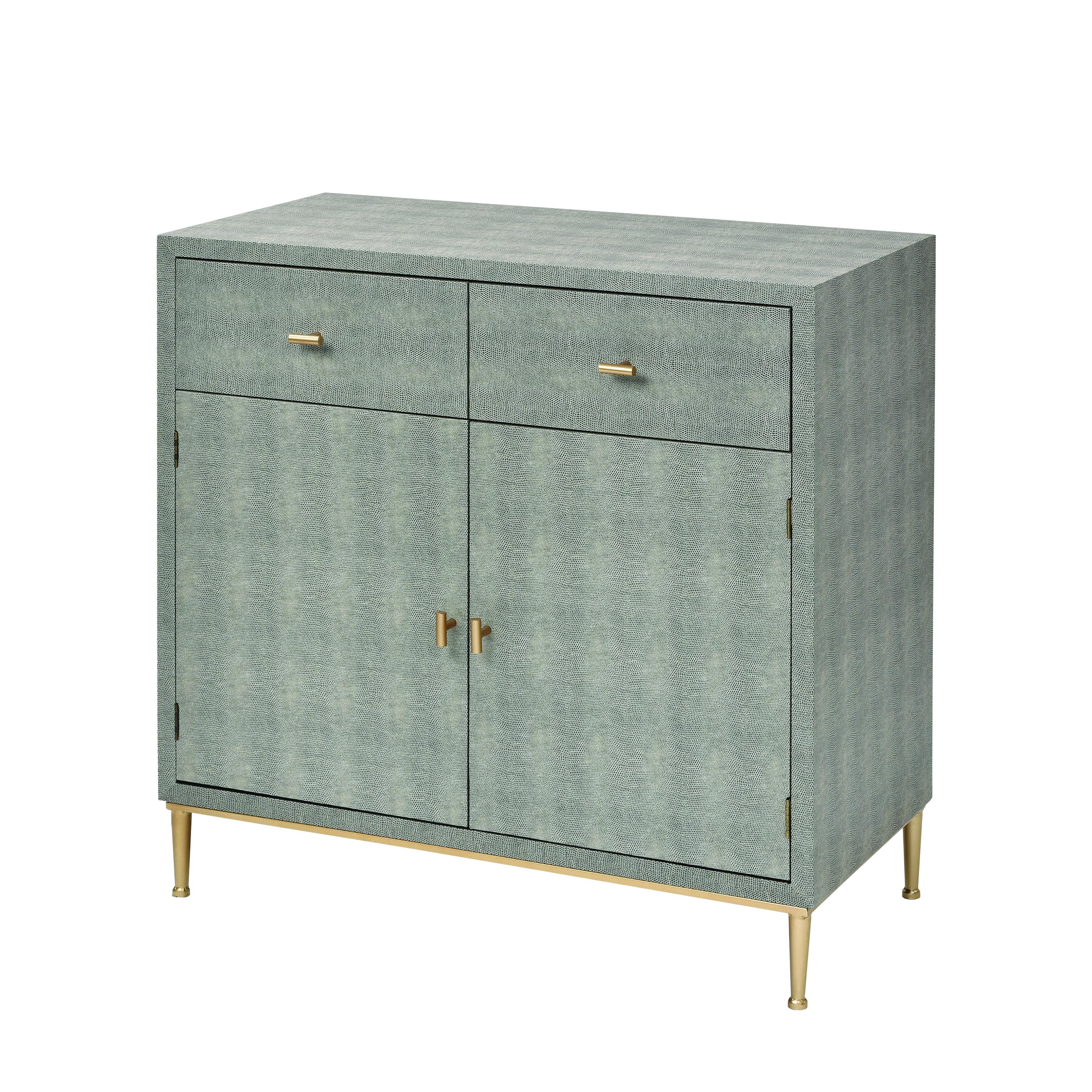 Sands Point 2-Door 2-Drawer Cabinet in Grey and Gold | Elk Home