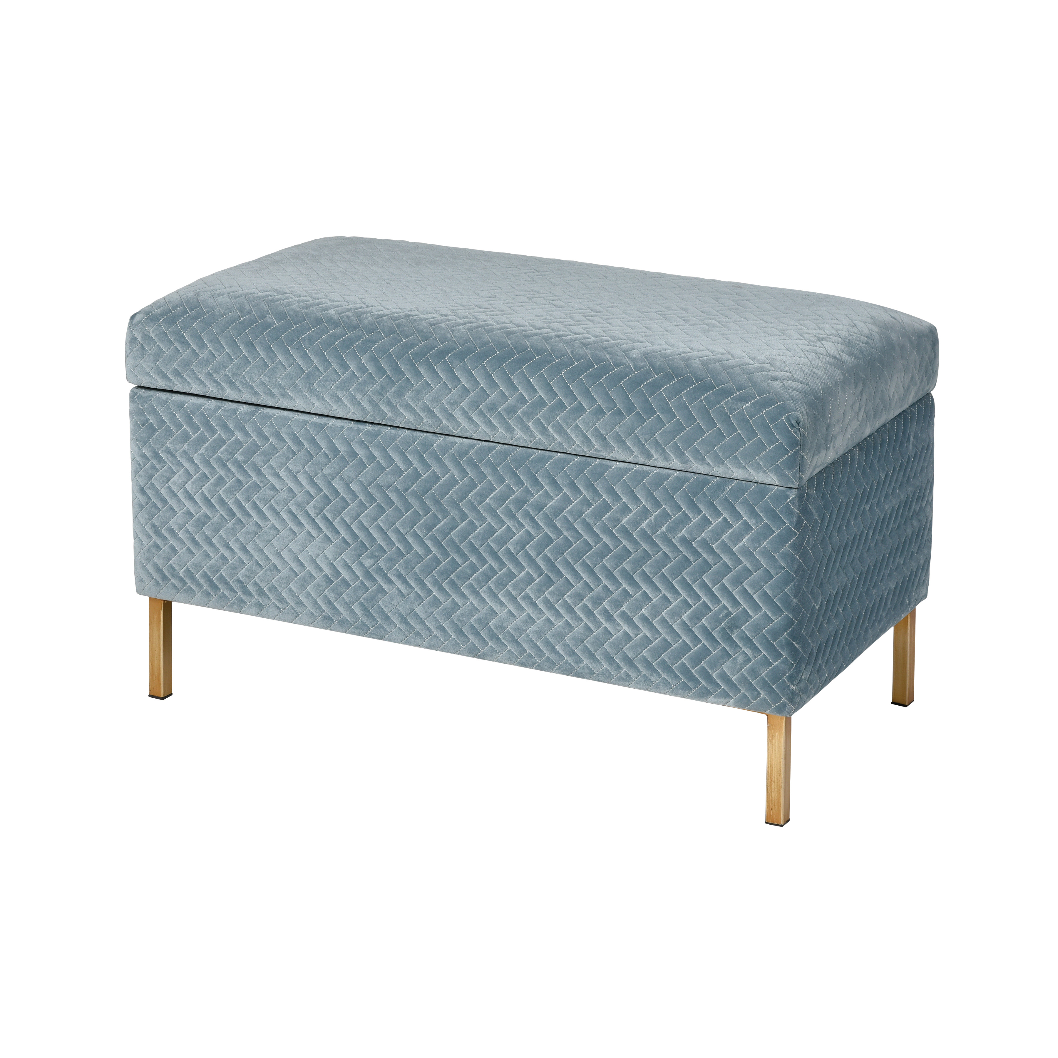 Shake Storage Bench in Blue Chenille and Gold | Elk Home