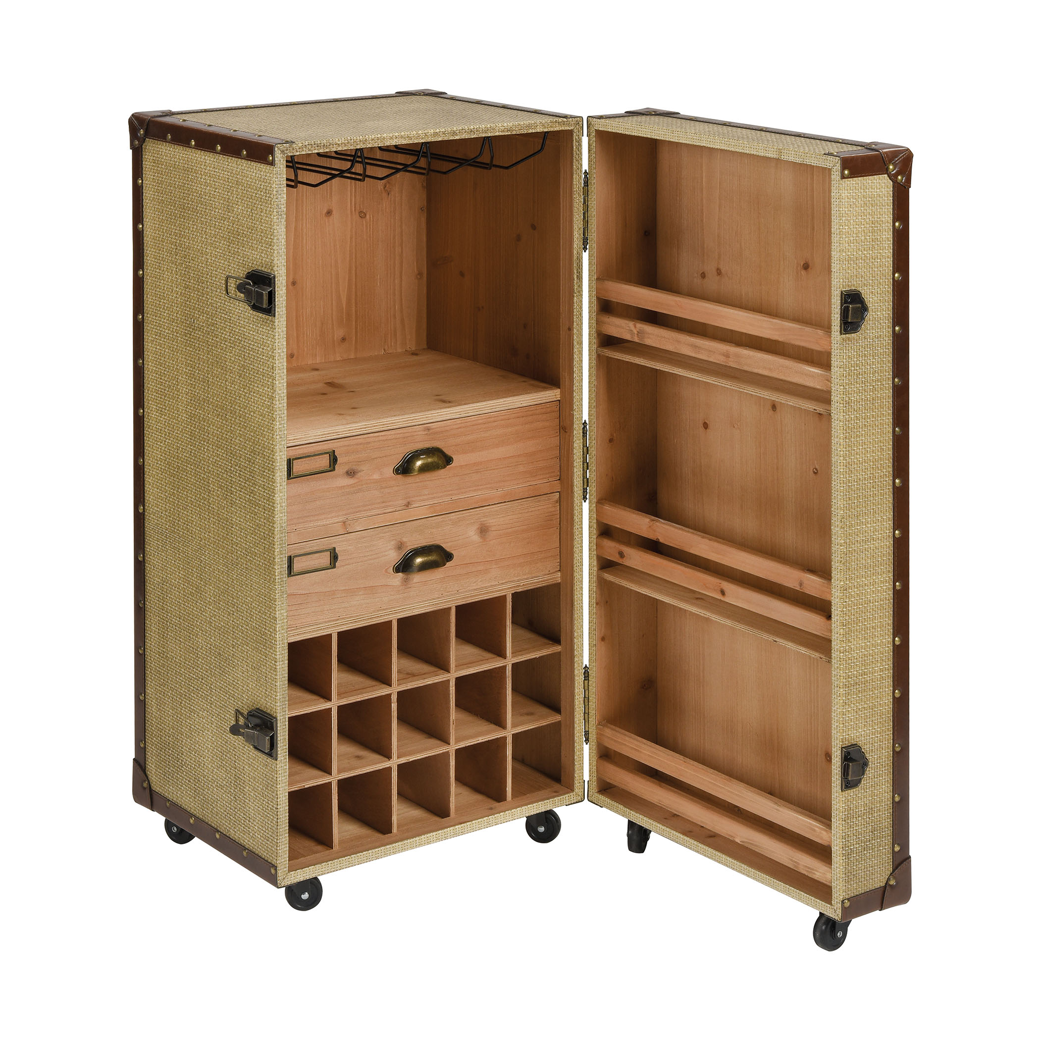 Wavertree Wine Cabinet in Antique Grey and Natural Wood Tone | Elk Home