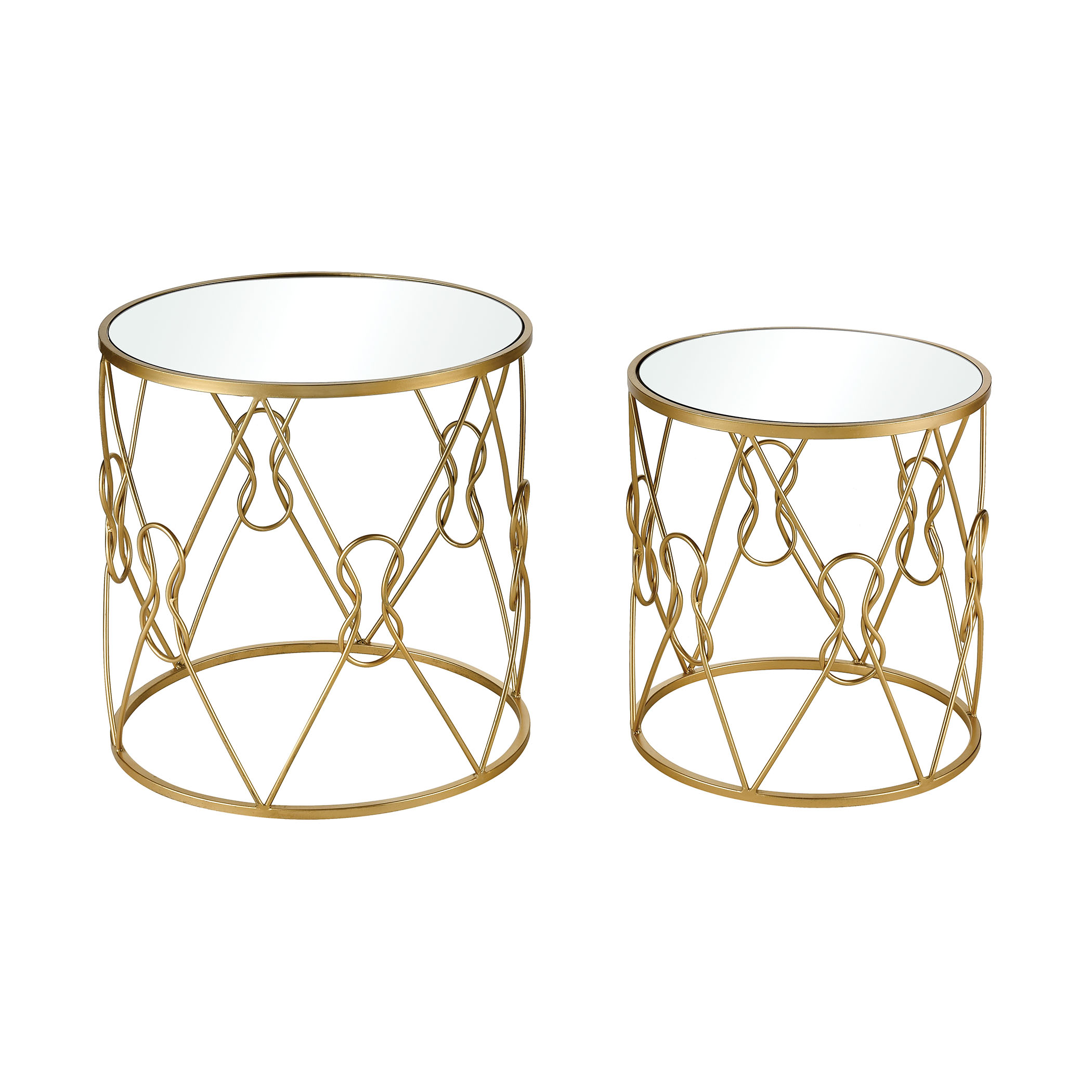 Mental Note Accent Tables in Gold and Clear Set of 2 | Elk Home