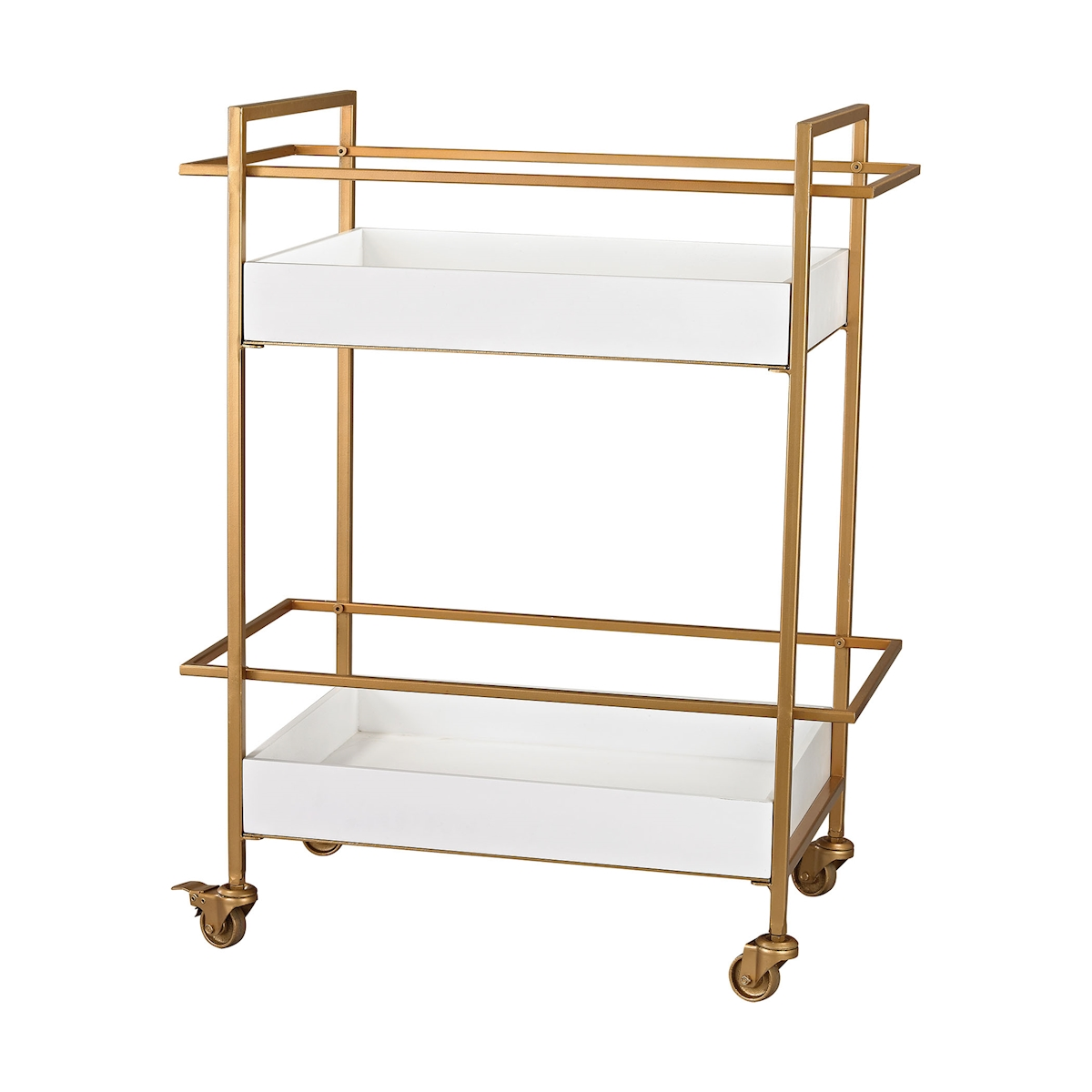 Kline Bar Cart in White and Gold | Elk Home