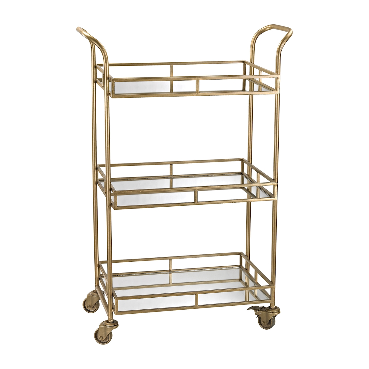 Julep Bar Cart in Gold with Mirrored Shelves | Elk Home