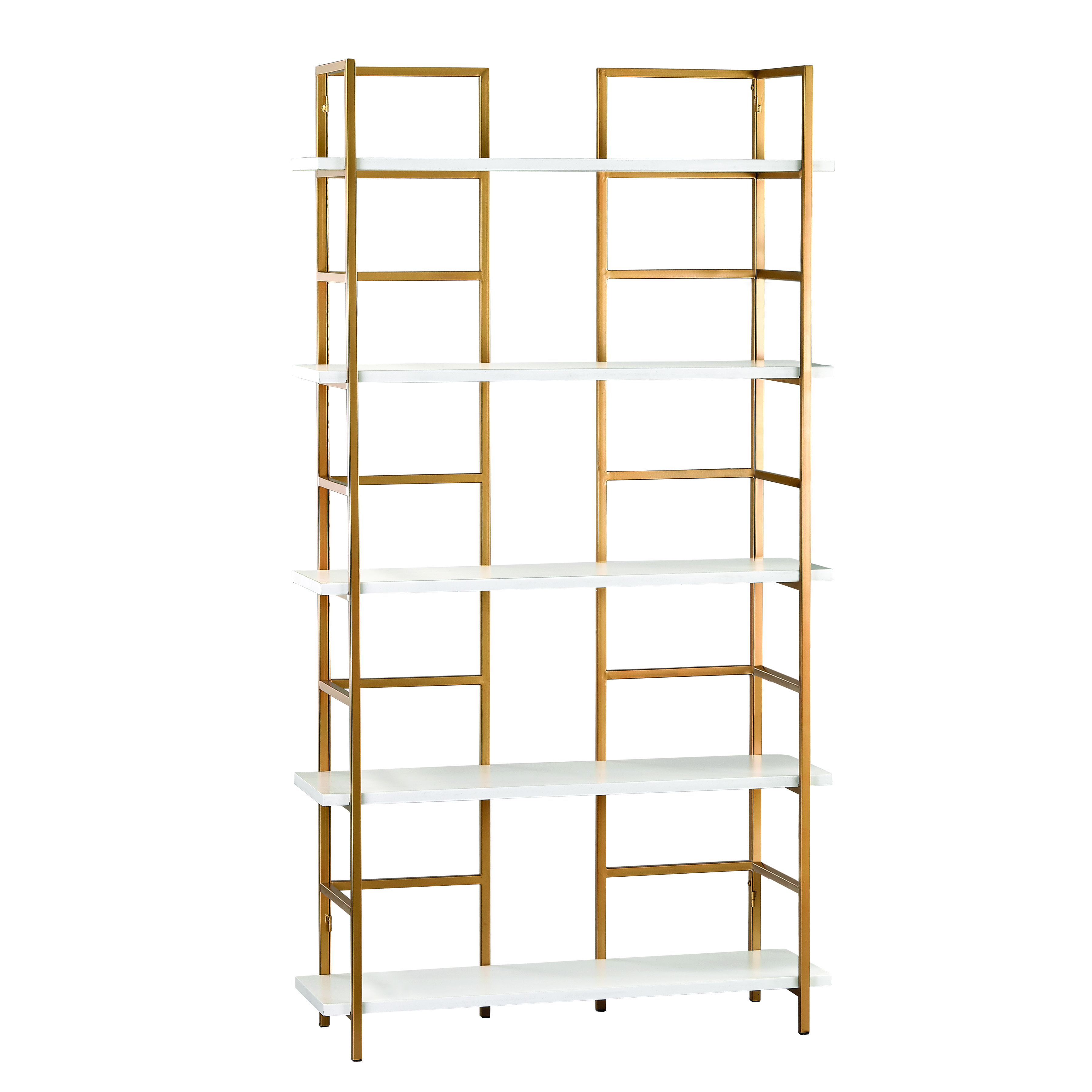 Kline Shelving Unit in White and Gold | Elk Home