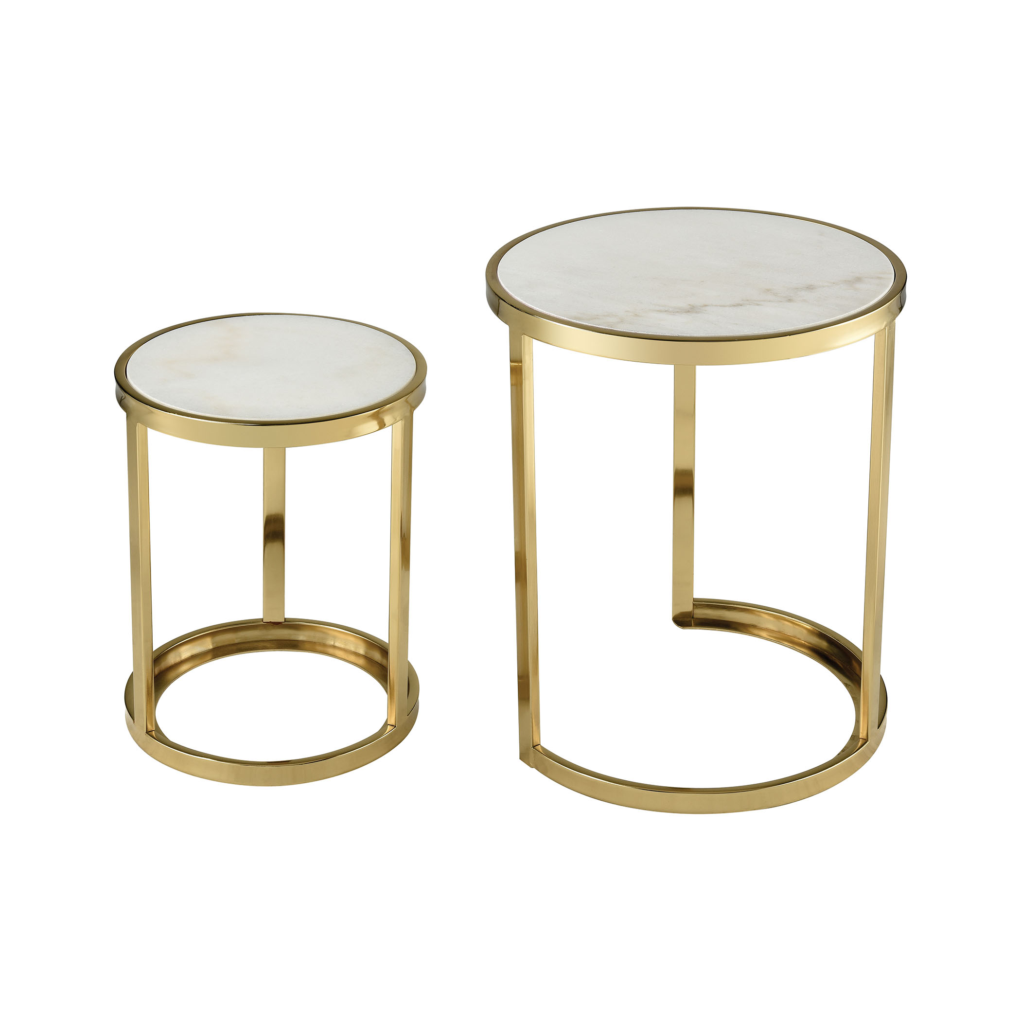 Trimalchio Gold Plated and White Metal and Marble Accent Tables Set of 2 | Elk Home