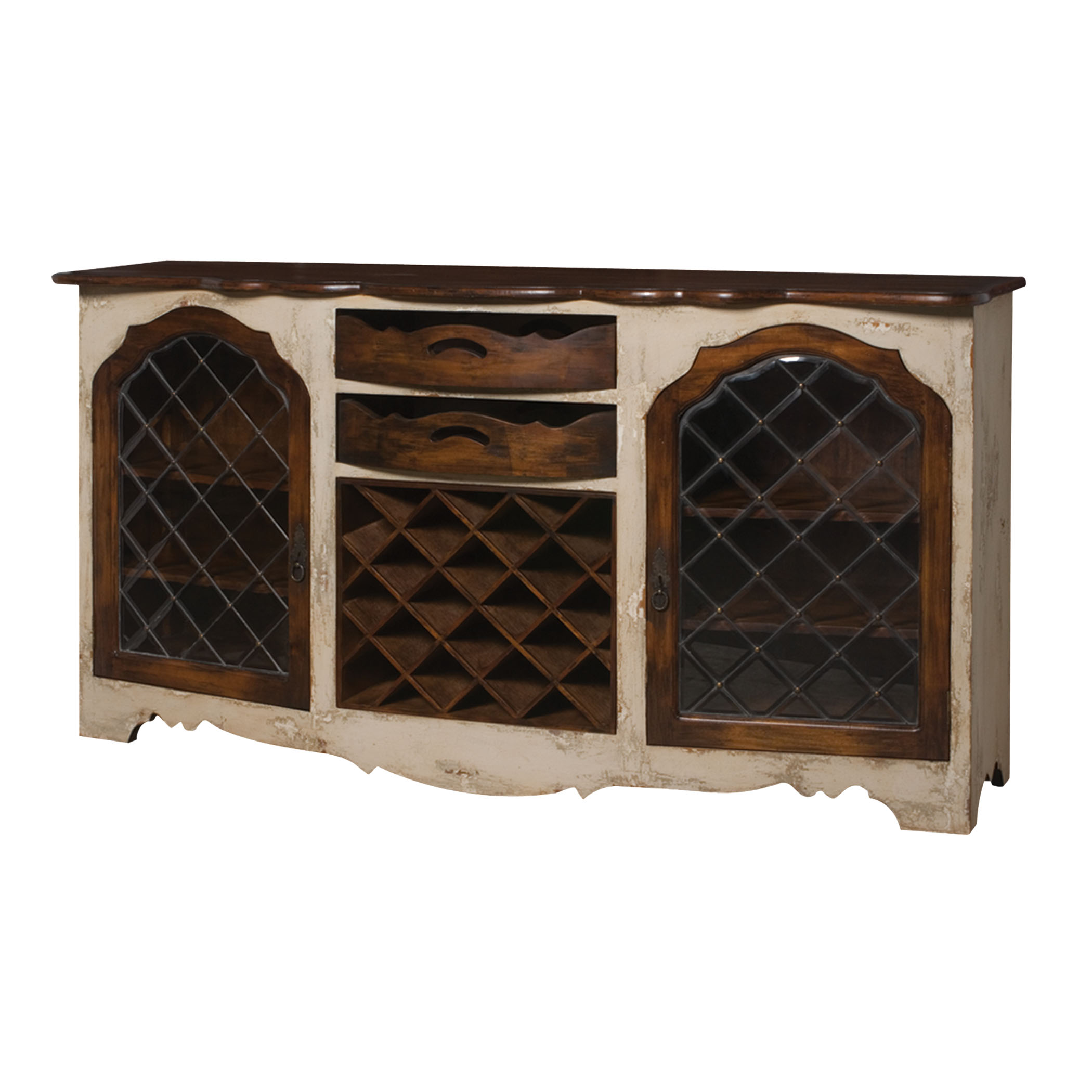 Wine Cabinet in Crossroads Rosa and Woodland Dark Stain | Elk Home