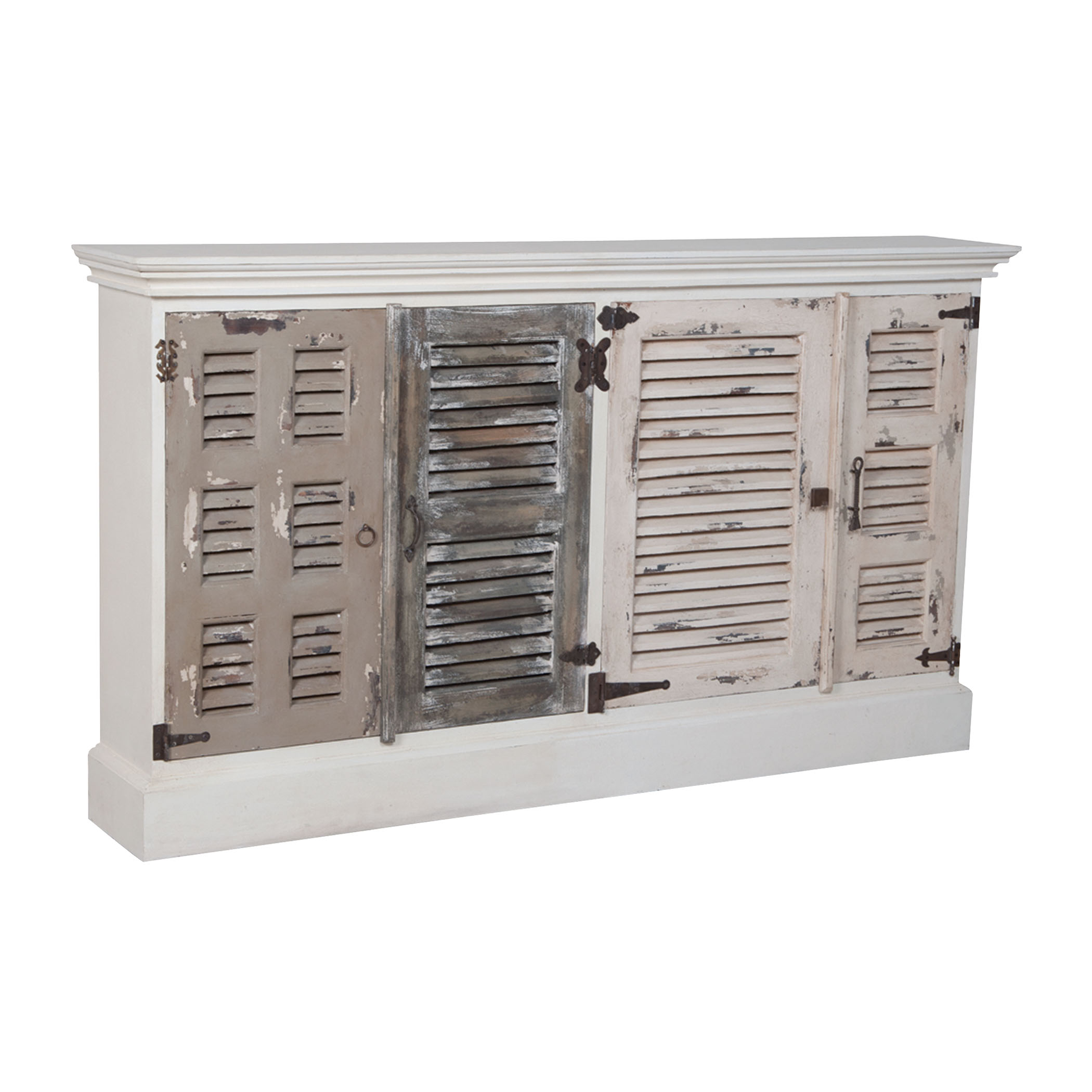 Waterfront 4-Door Shuttered Credenza in Garden Lattice White and Greys | Elk Home